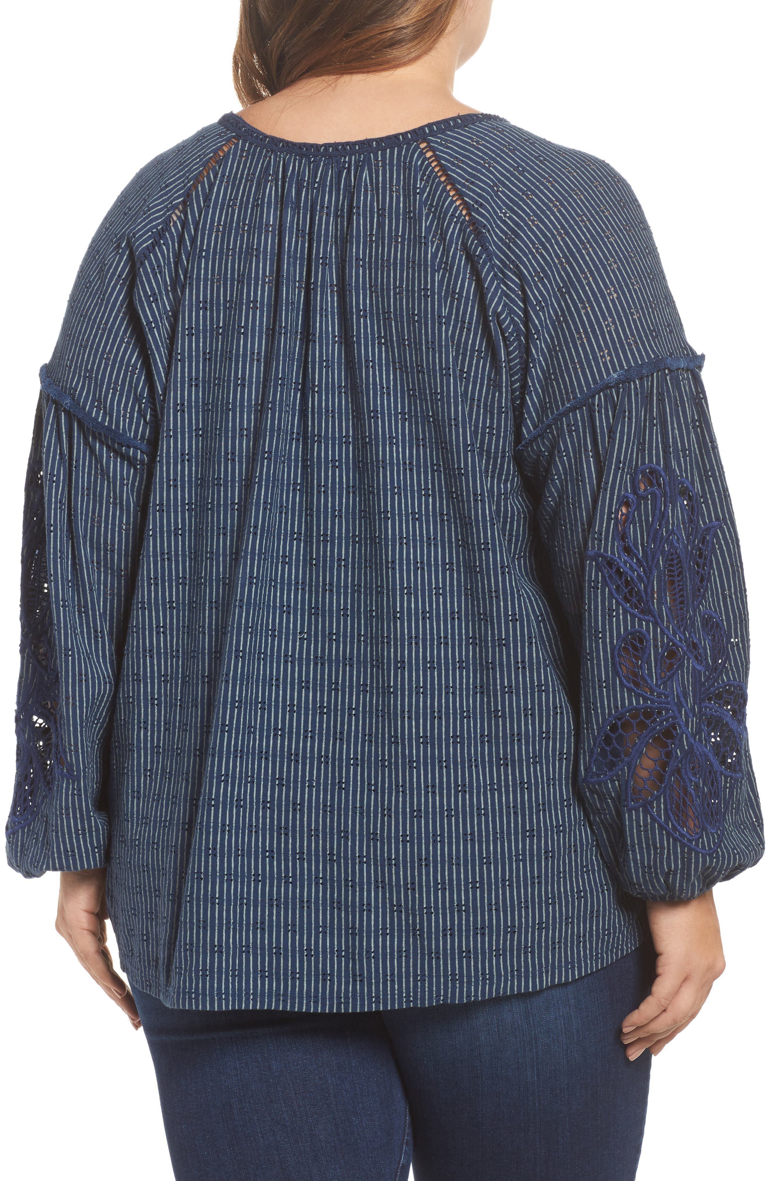 Alternate Image 2  - Lucky Brand Embroidered Peasant Top (Plus Size)