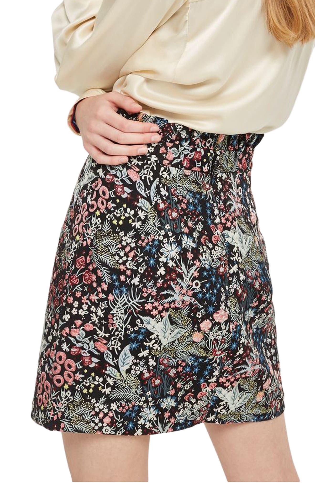 Woodland Jacquard Skirt,                             Alternate thumbnail 2, color,                             Black Multi