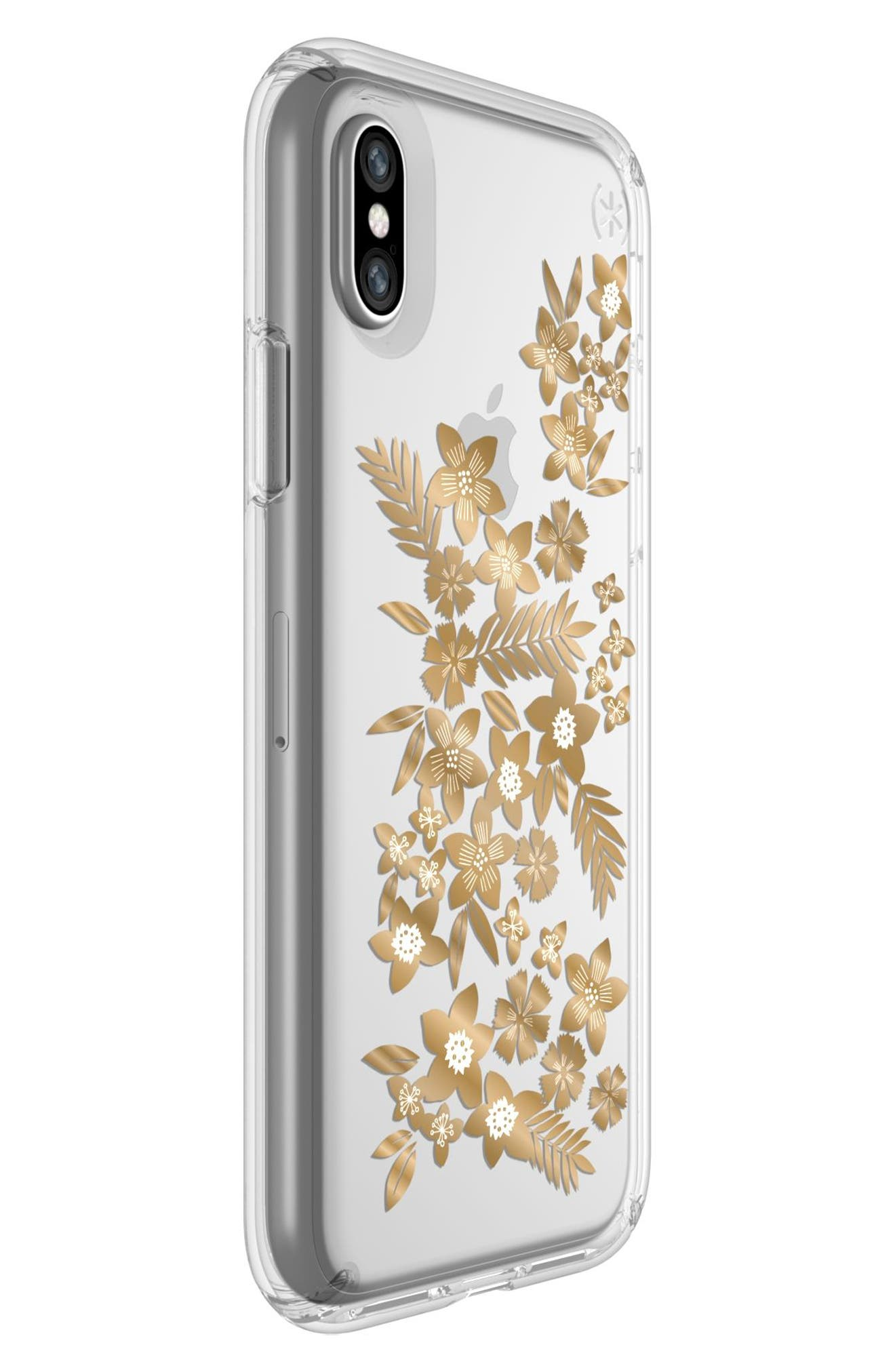 Shimmer Metallic Floral Transparent iPhone X Case,                             Alternate thumbnail 2, color,                             Shimmer Floral Metallic/ Clear