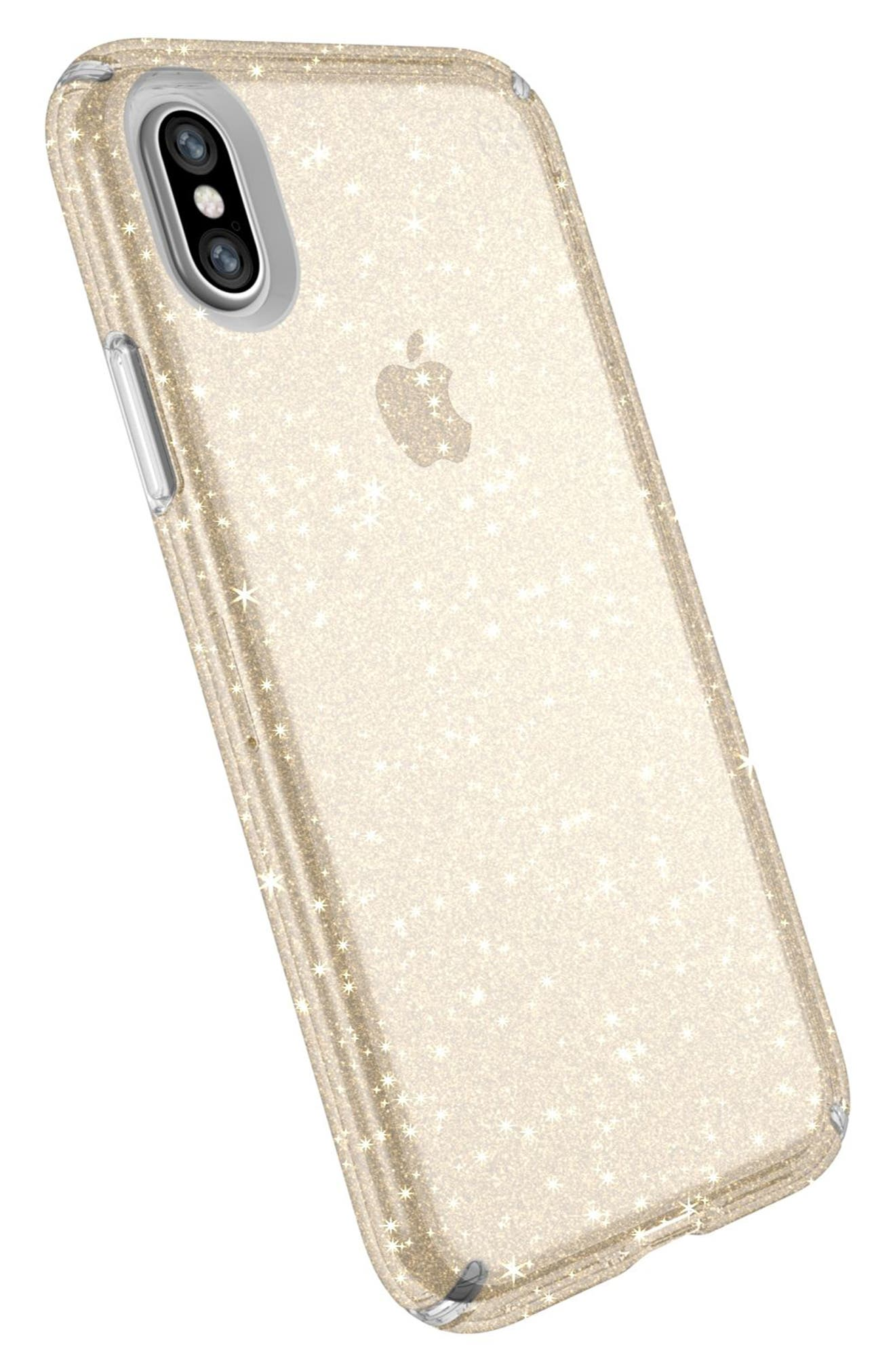 Transparent iPhone X Case,                             Alternate thumbnail 4, color,                             Clear With Gold Glitter/ Clear