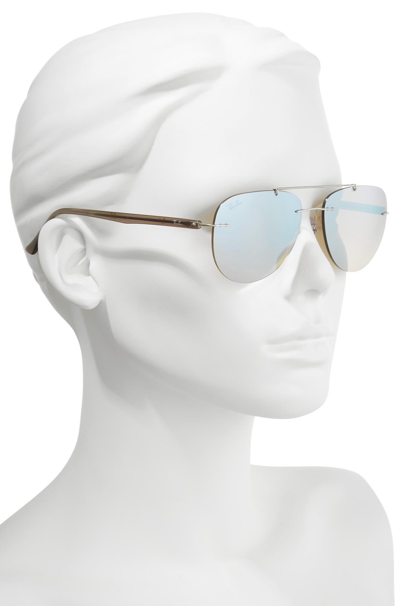 Phantos 57mm Mirrored Rimless Aviator Sunglasses,                             Alternate thumbnail 3, color,                             Silver