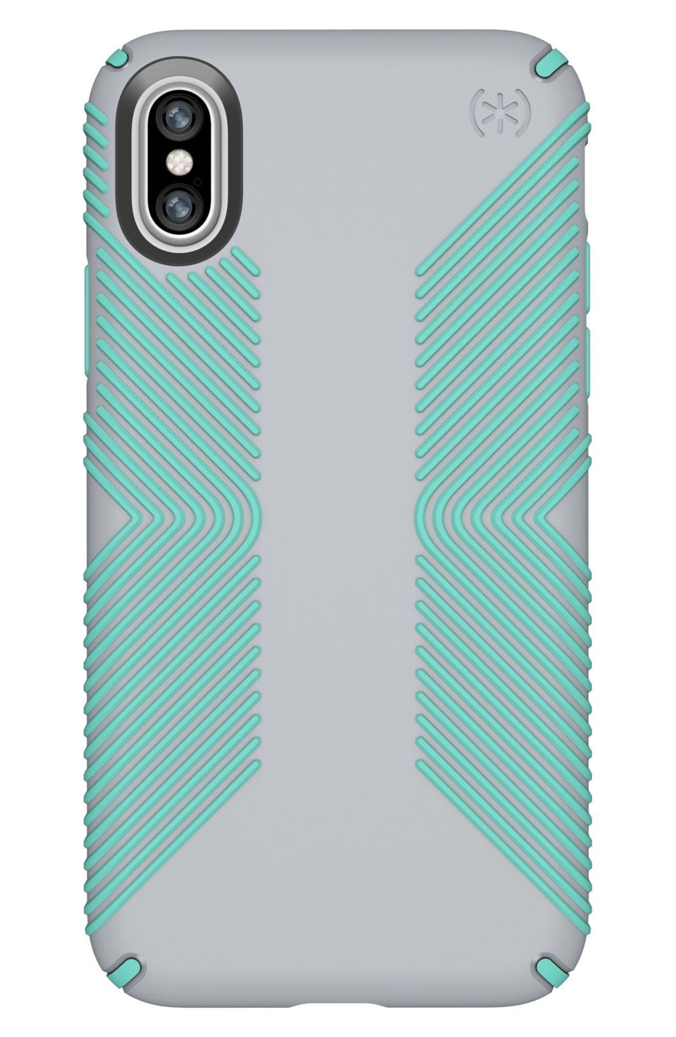 iPhone X Case,                             Main thumbnail 1, color,                             Dolphin Grey/ Aloe Green
