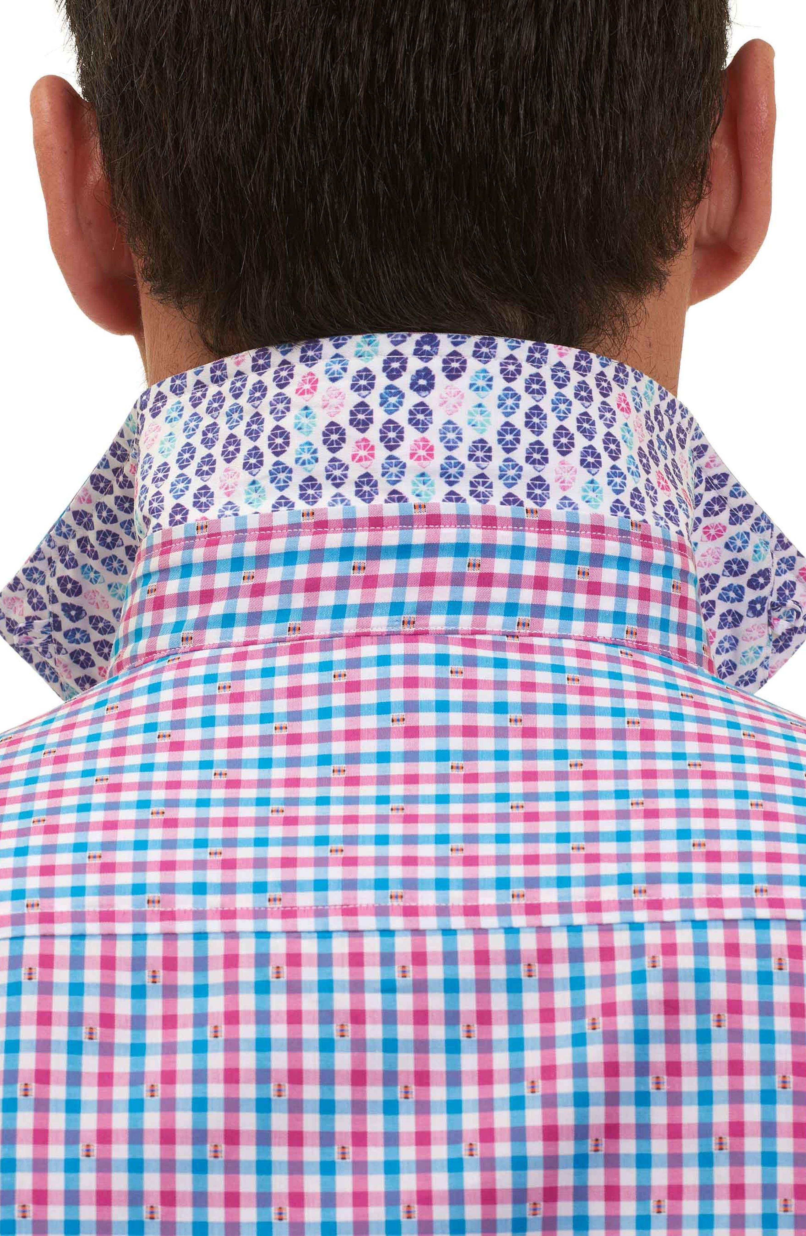 Makai Tailored Fit Gingham Sport Shirt,                             Alternate thumbnail 2, color,                             Berry