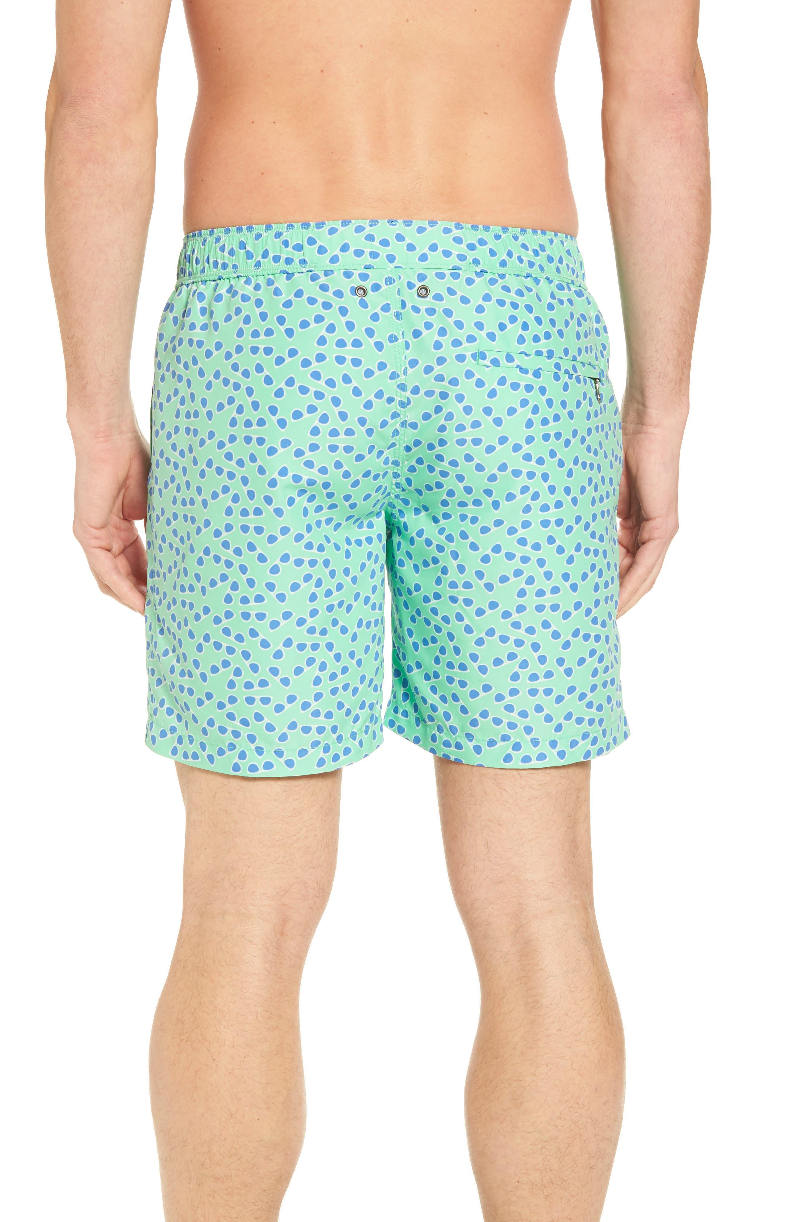 Sunglasses Print Swim Trunks,                             Alternate thumbnail 2, color,                             Spring Green