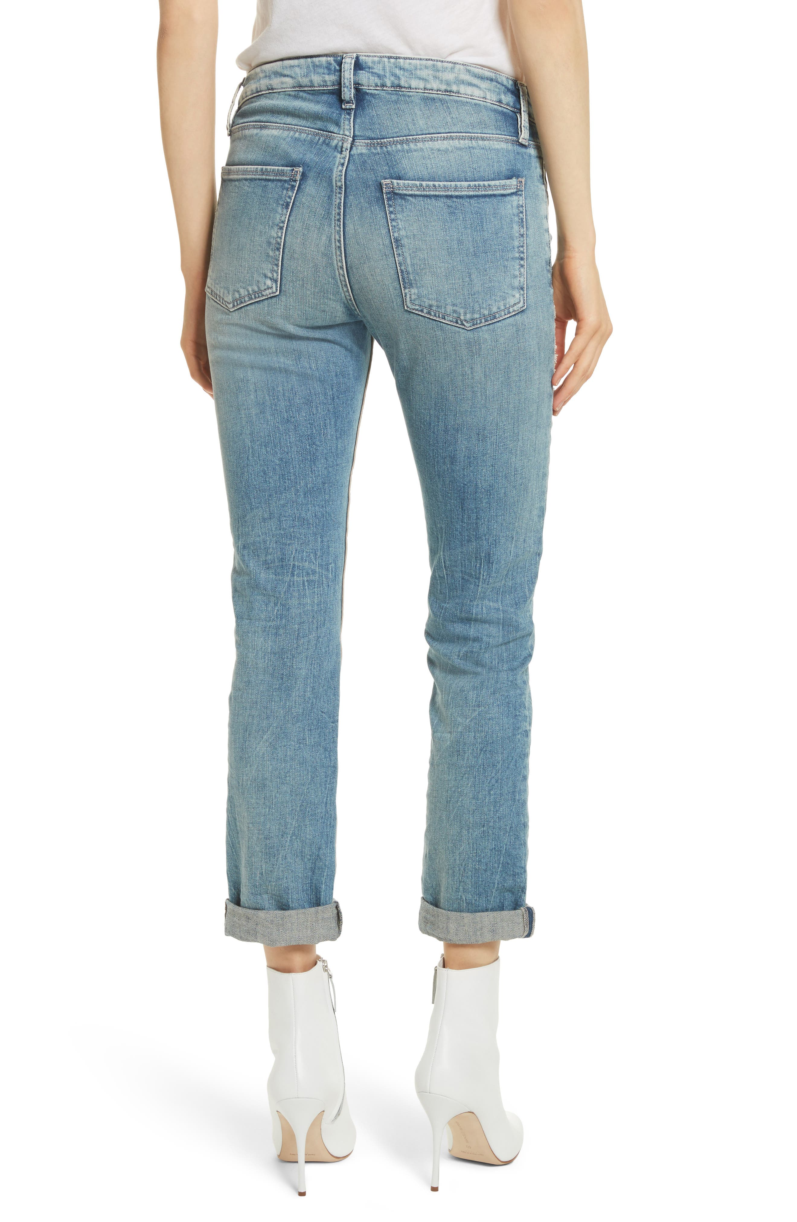 Embellished Boyfriend Jeans,                             Alternate thumbnail 2, color,                             Blue Berry