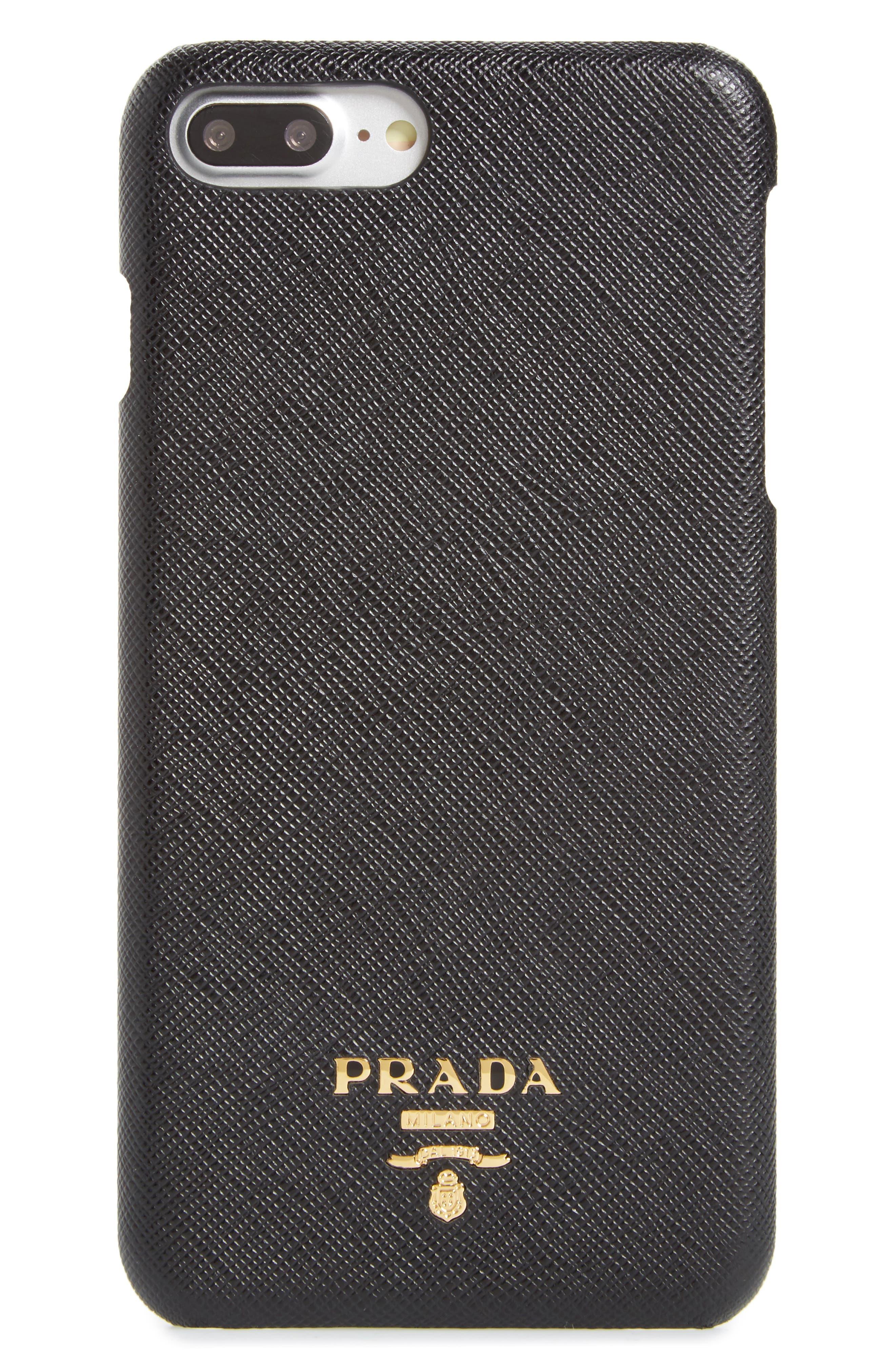 Saffiano Metal Oro iPhone 7/8 Plus Case,                         Main,                         color, Nero