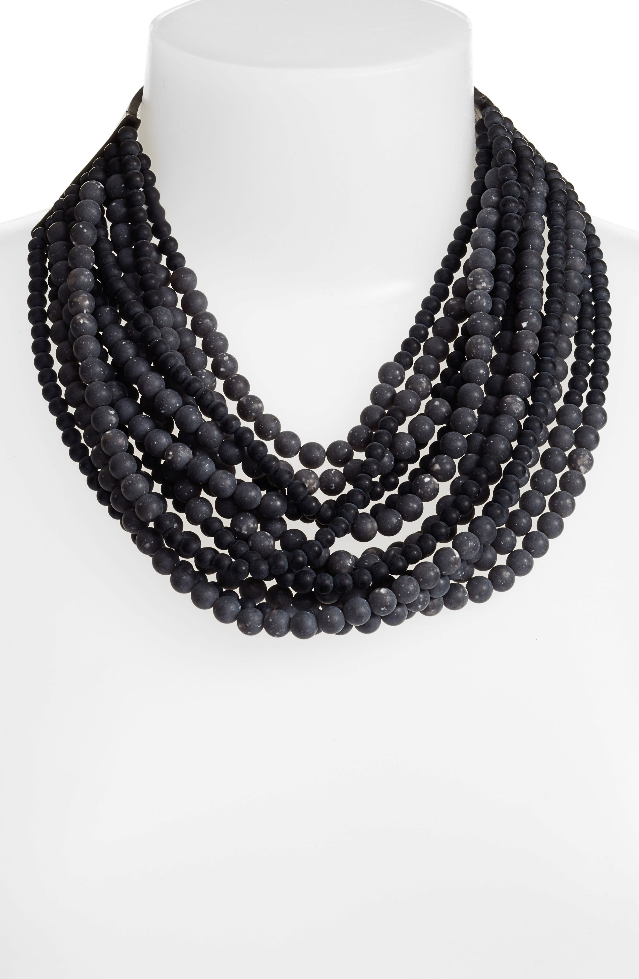 Beaded Collar Necklace,                             Alternate thumbnail 2, color,                             Stone Anthracite