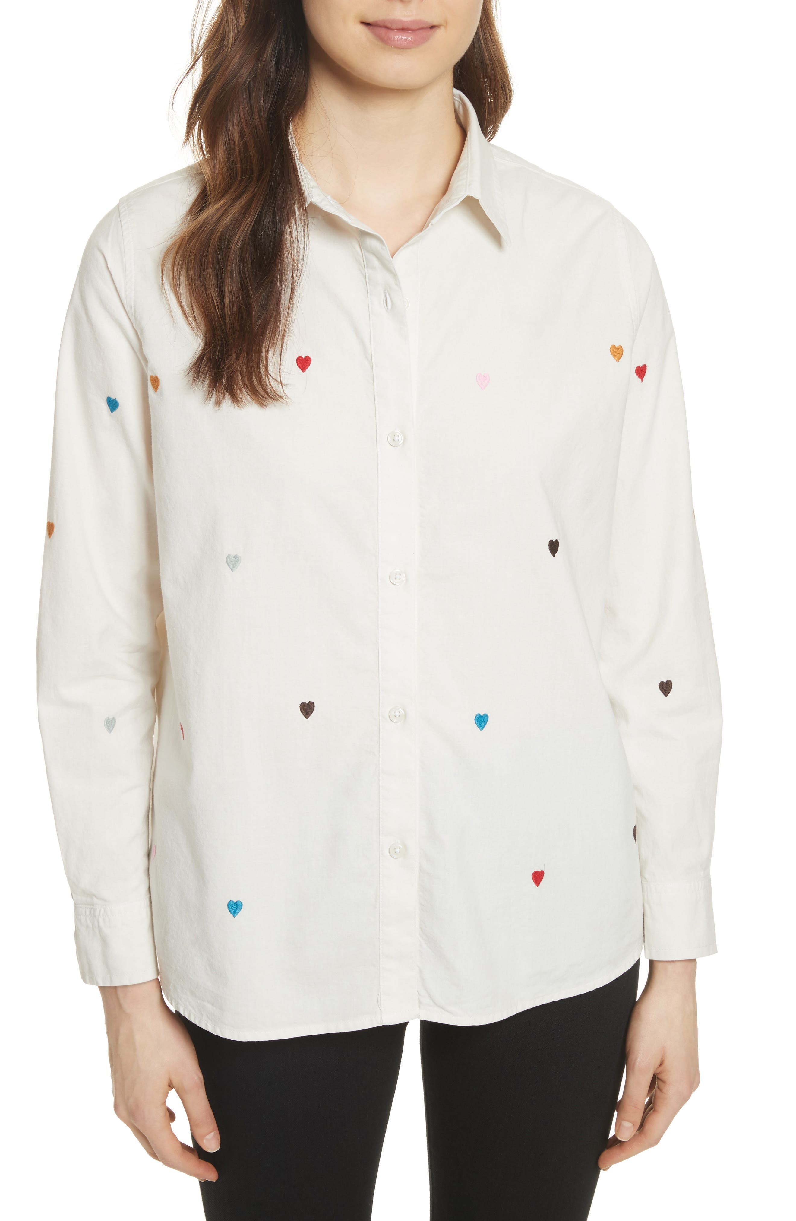 The Campus Heart Embroidered Shirt,                         Main,                         color, Cream/ Heart Embroidery