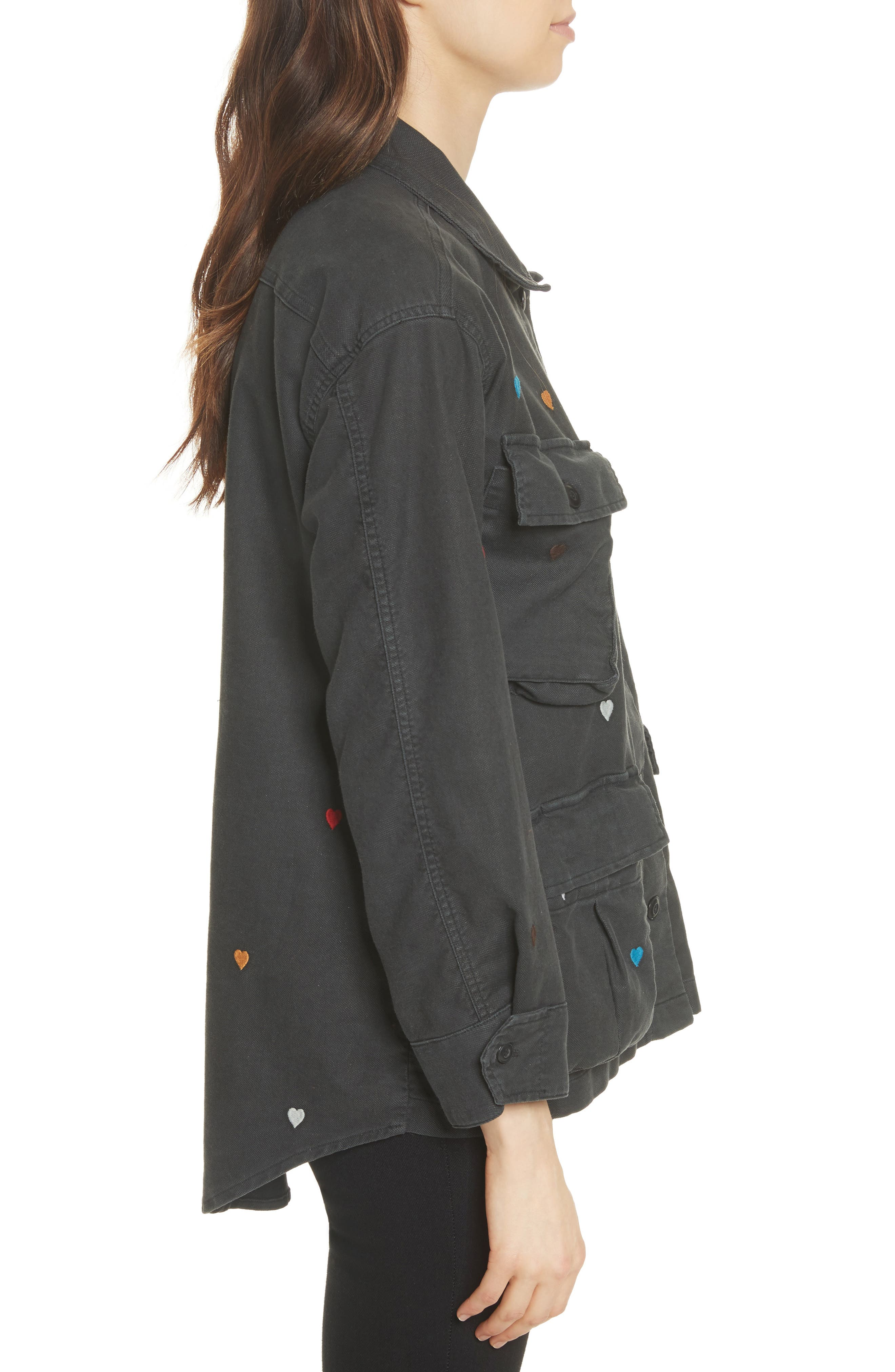 The Commander Embroidered Jacket,                             Alternate thumbnail 3, color,                             Black/ Heart Embroidery