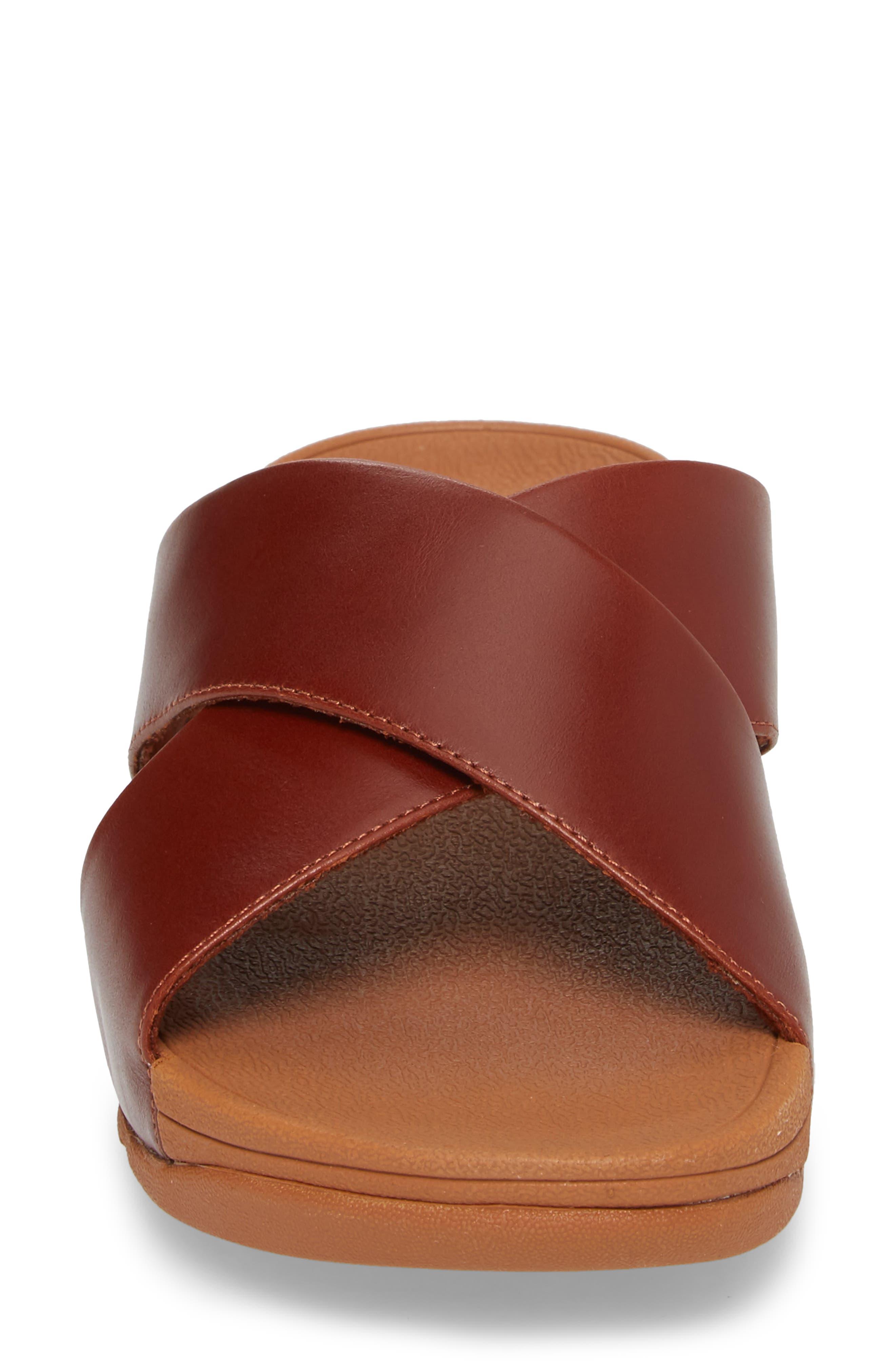 Lulu Cross Slide Sandal,                             Alternate thumbnail 4, color,                             Cognac