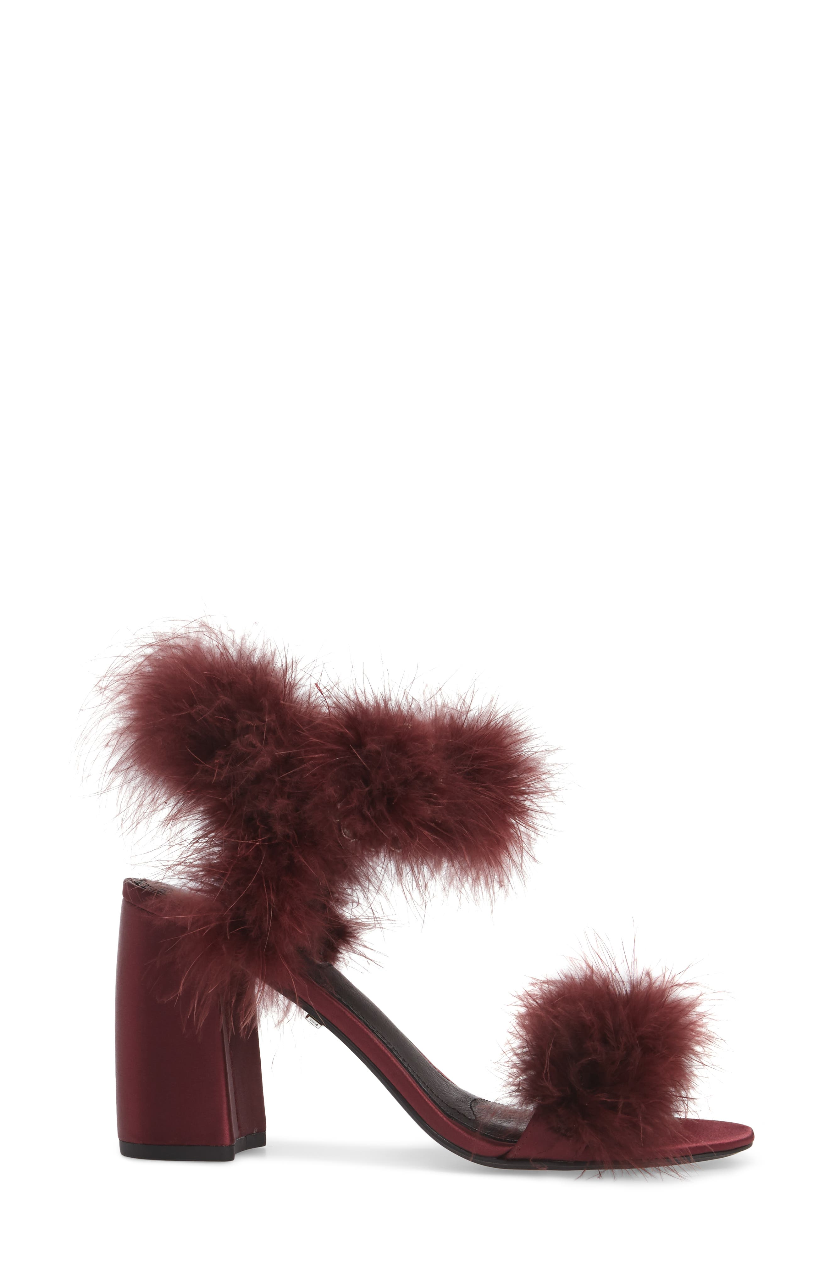 Maribou Feather Sandal,                             Alternate thumbnail 3, color,                             Burgundy