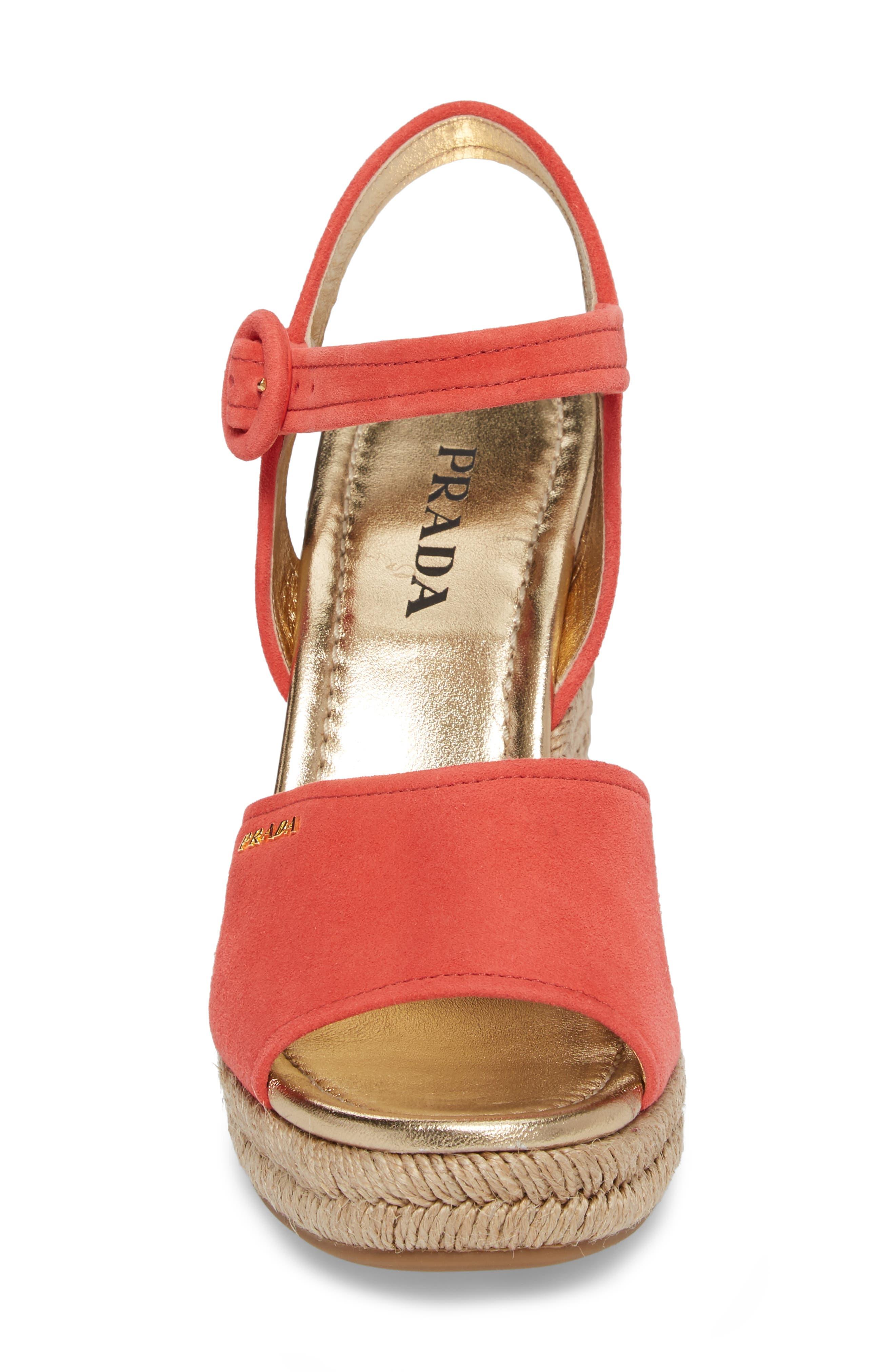 Espadrille Wedge Sandal,                             Alternate thumbnail 4, color,                             Red