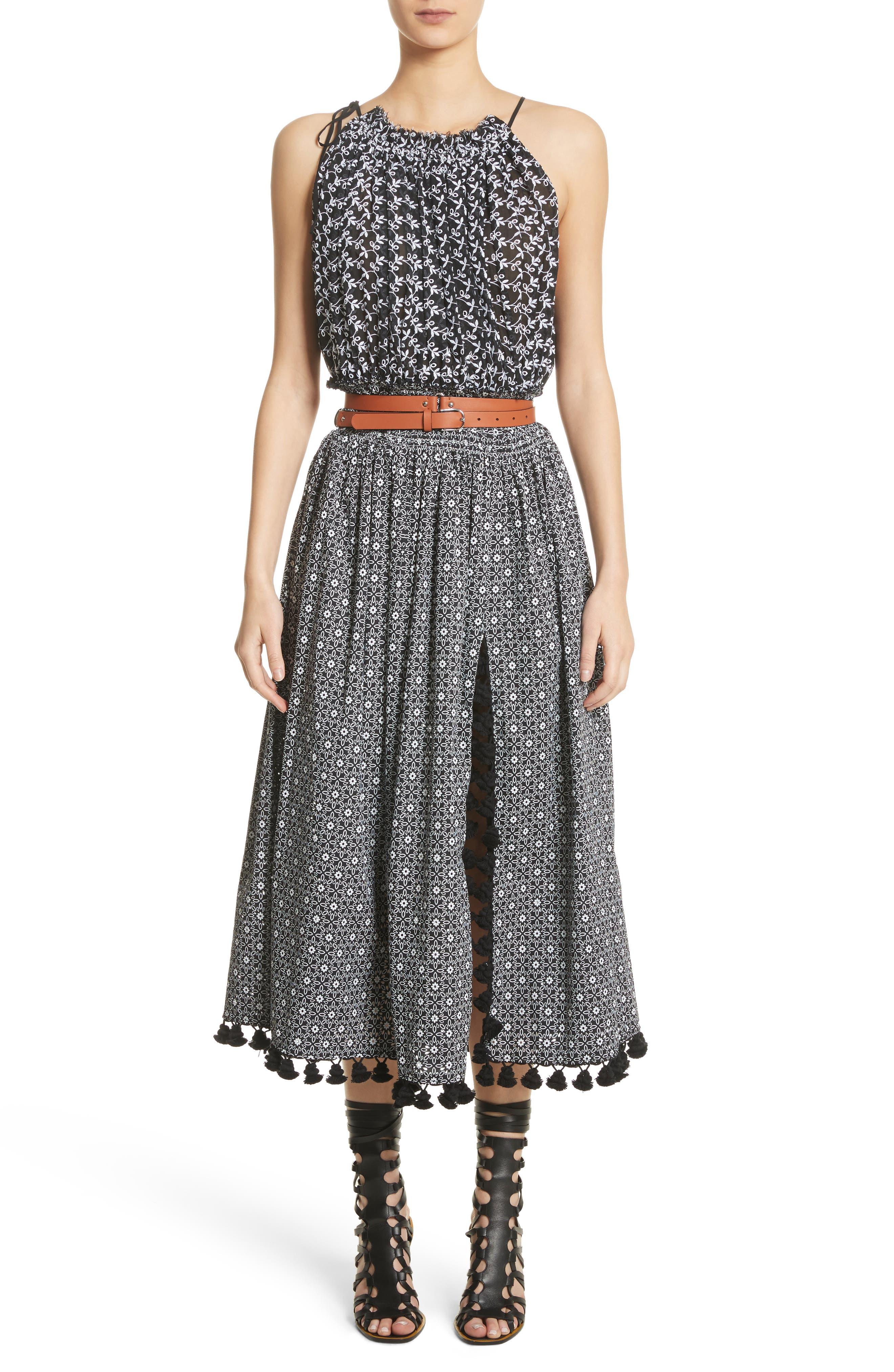 Pompom Trim Smock Waist Dress,                             Alternate thumbnail 9, color,                             Black