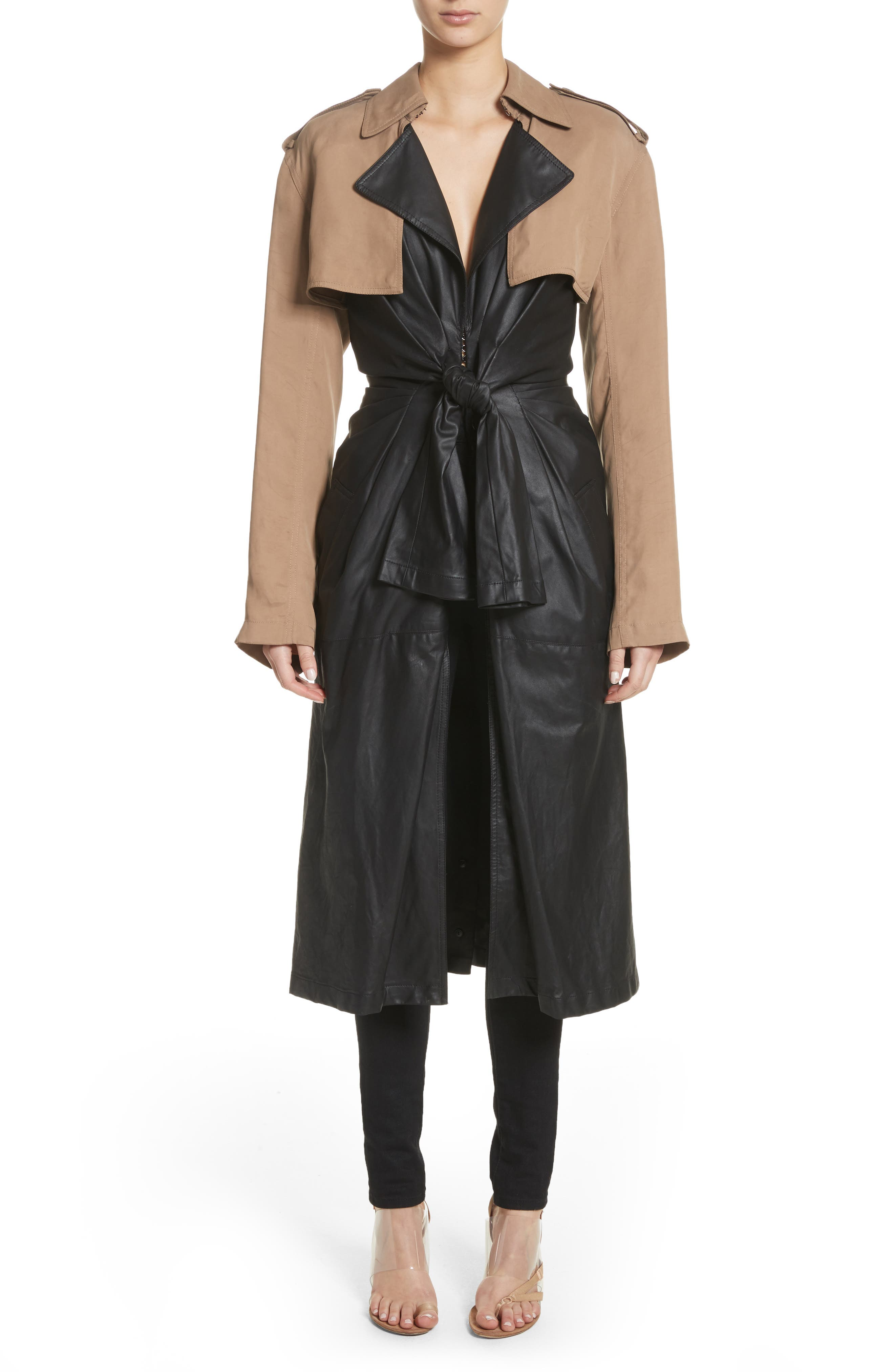 Tie Front Leather & Twill Trench Coat,                             Main thumbnail 1, color,                             Black
