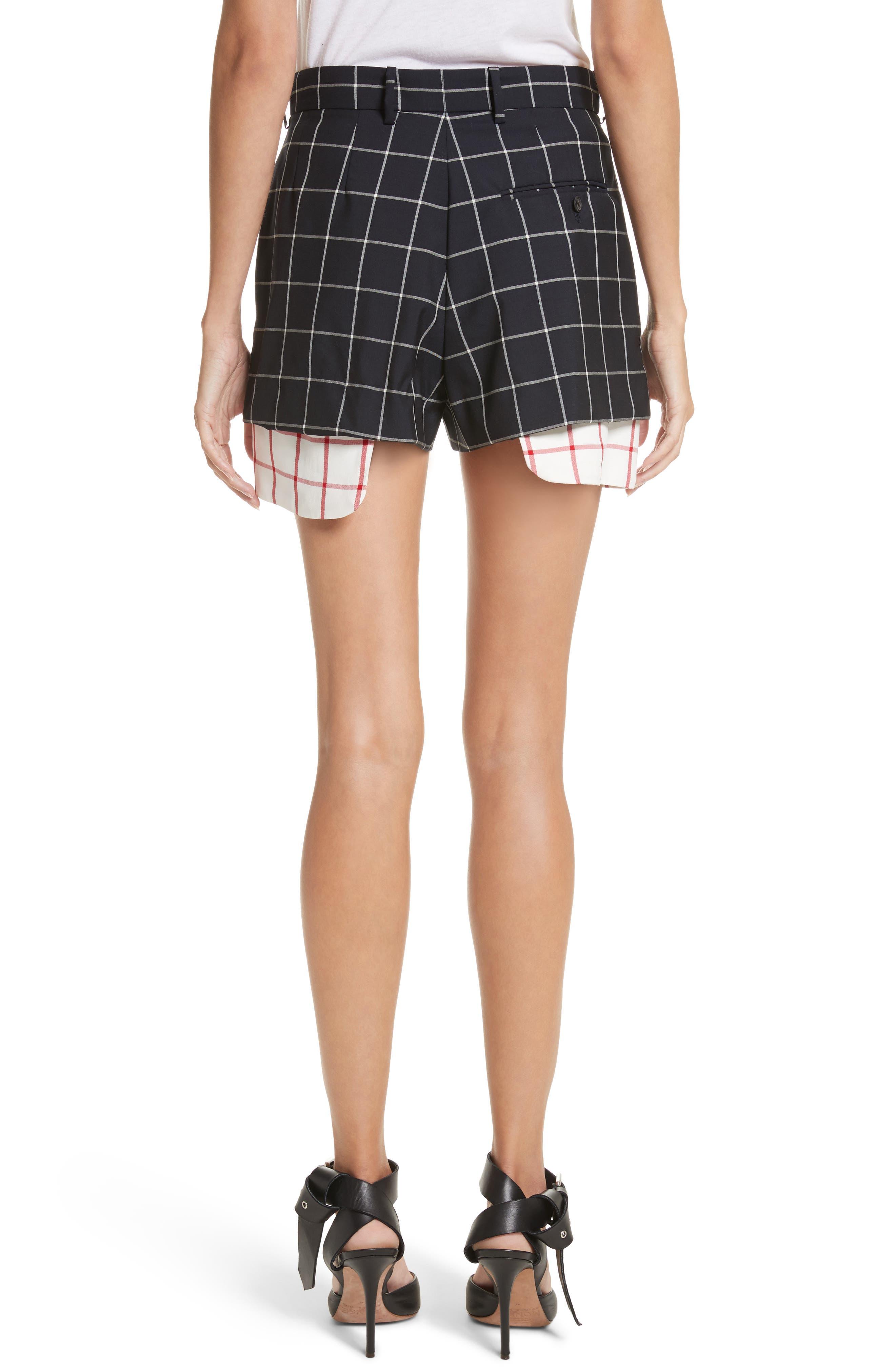 Peekaboo Windowpane Plaid Wool Shorts,                             Alternate thumbnail 2, color,                             Navy/ White