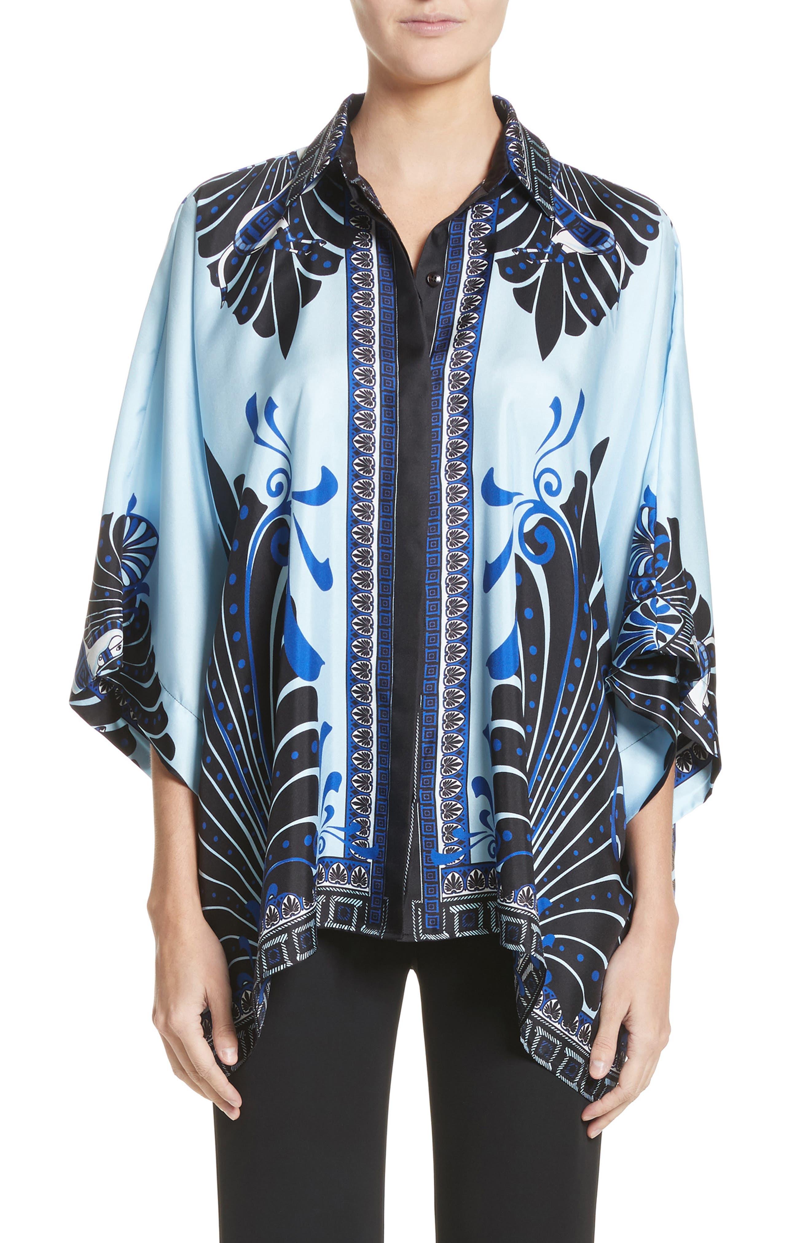 Eros Wide Sleeve Silk Shirt,                             Main thumbnail 1, color,                             Light Blue/ Print