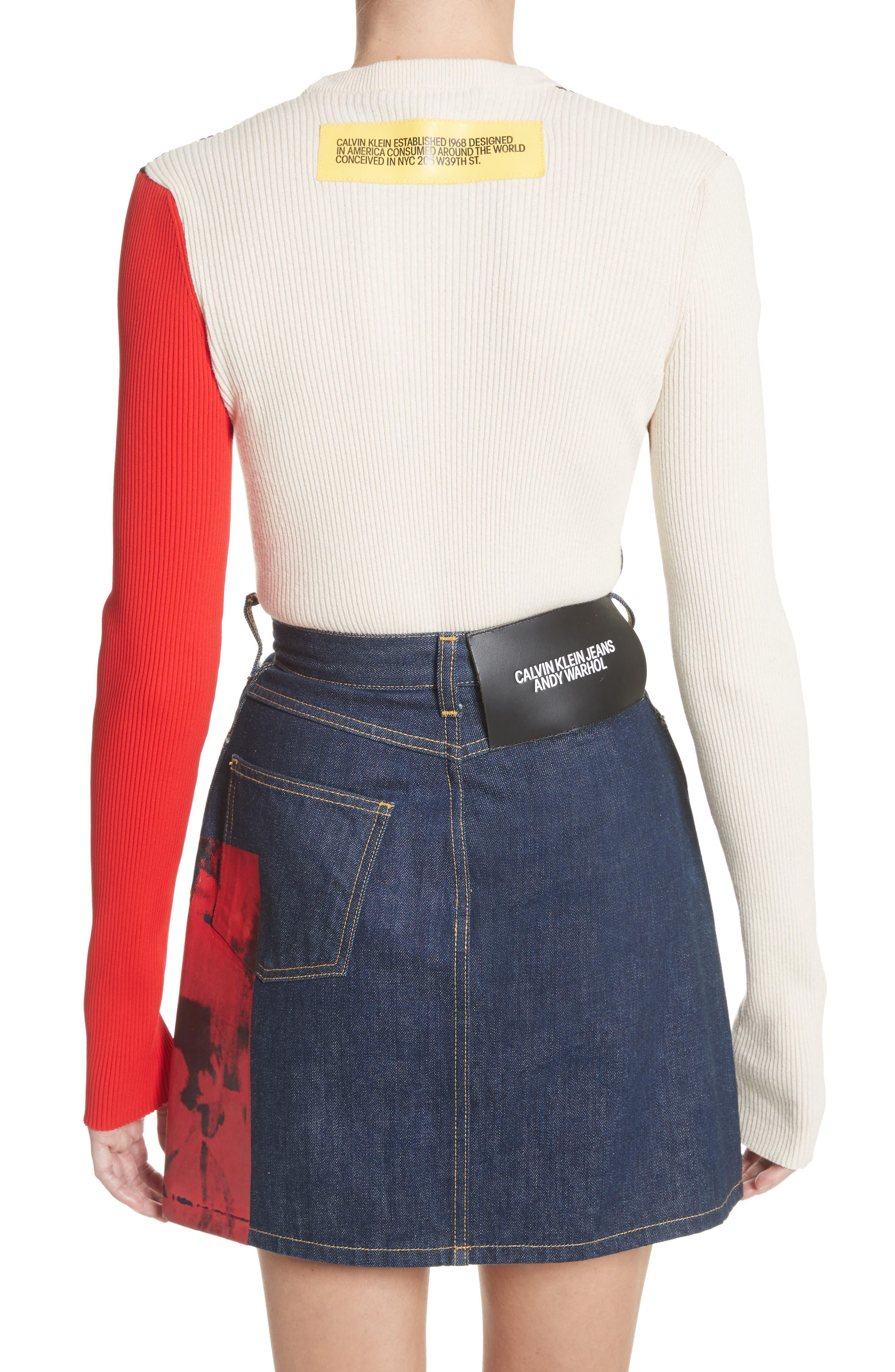 Colorblock Logo Knit Top,                             Alternate thumbnail 3, color,                             Black/ Ecru/ Red