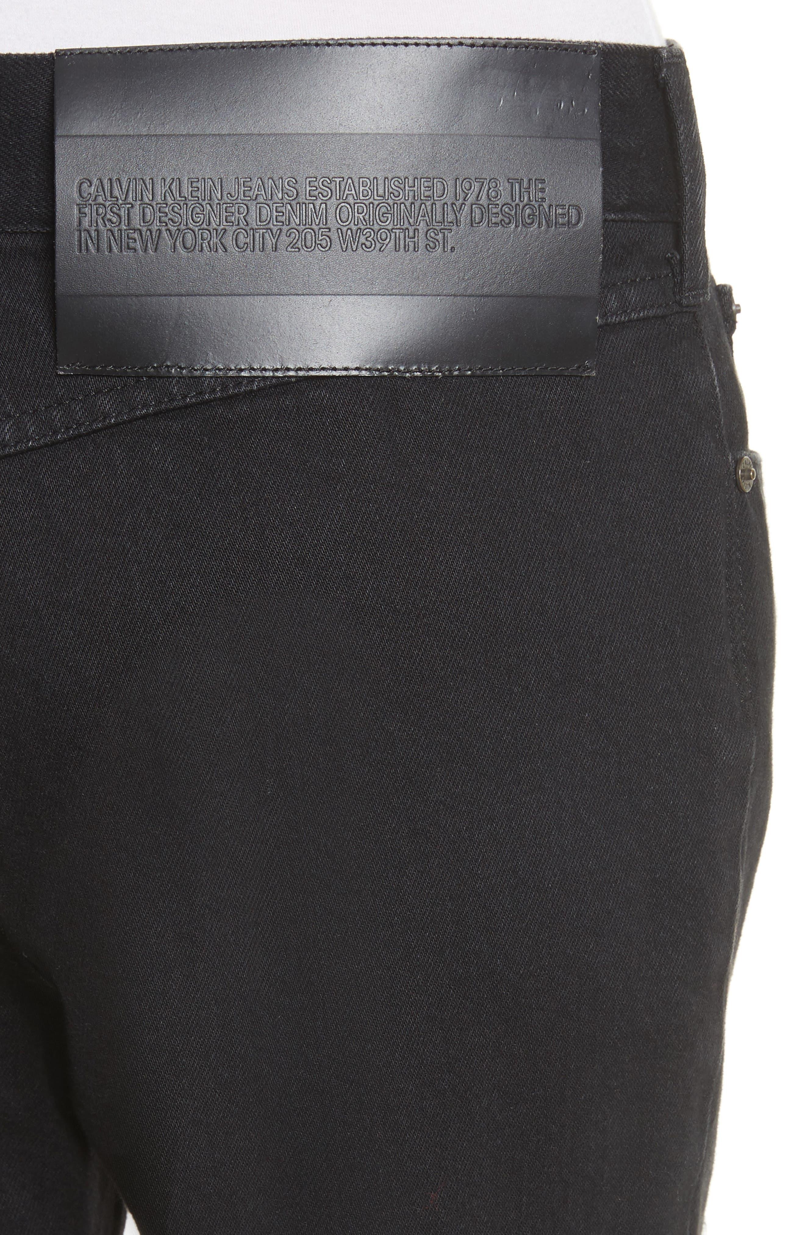 Silk Knee Patch Straight Leg Jeans,                             Alternate thumbnail 6, color,                             Black