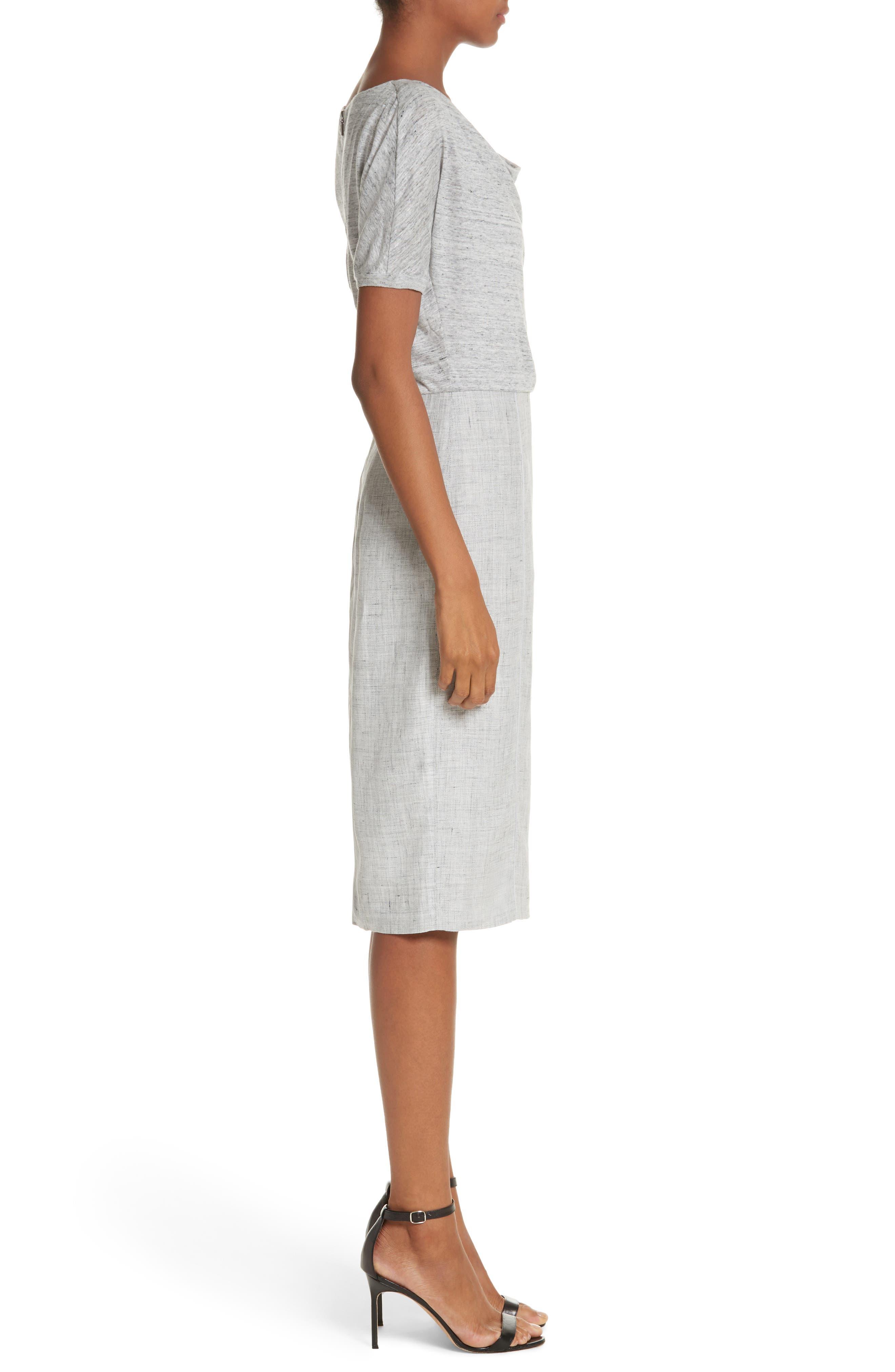 Laura Cowl Neck Linen Dress,                             Alternate thumbnail 3, color,                             Light Grey
