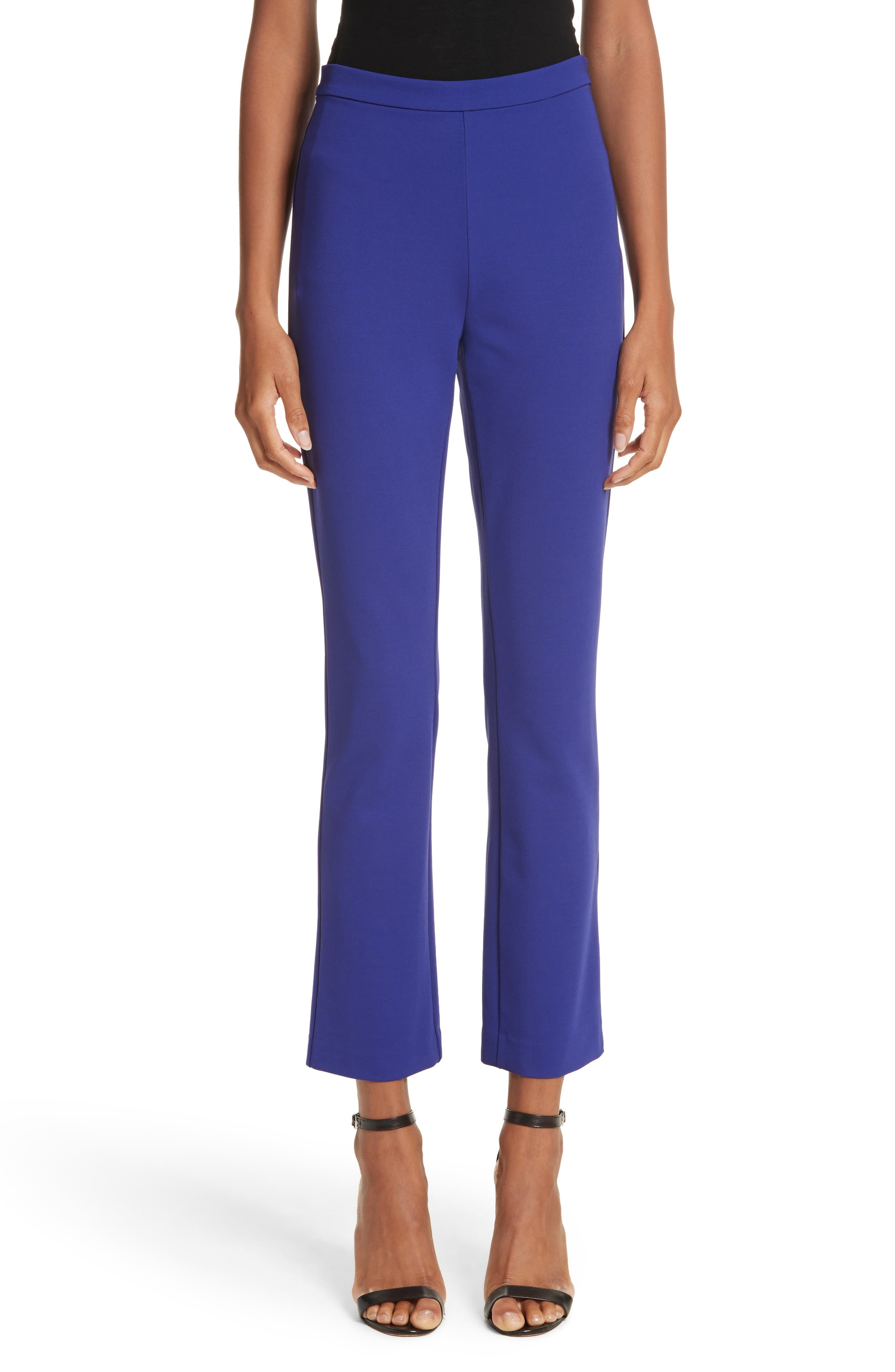 Calerno Crepe Crop Trousers,                             Main thumbnail 1, color,                             Violet