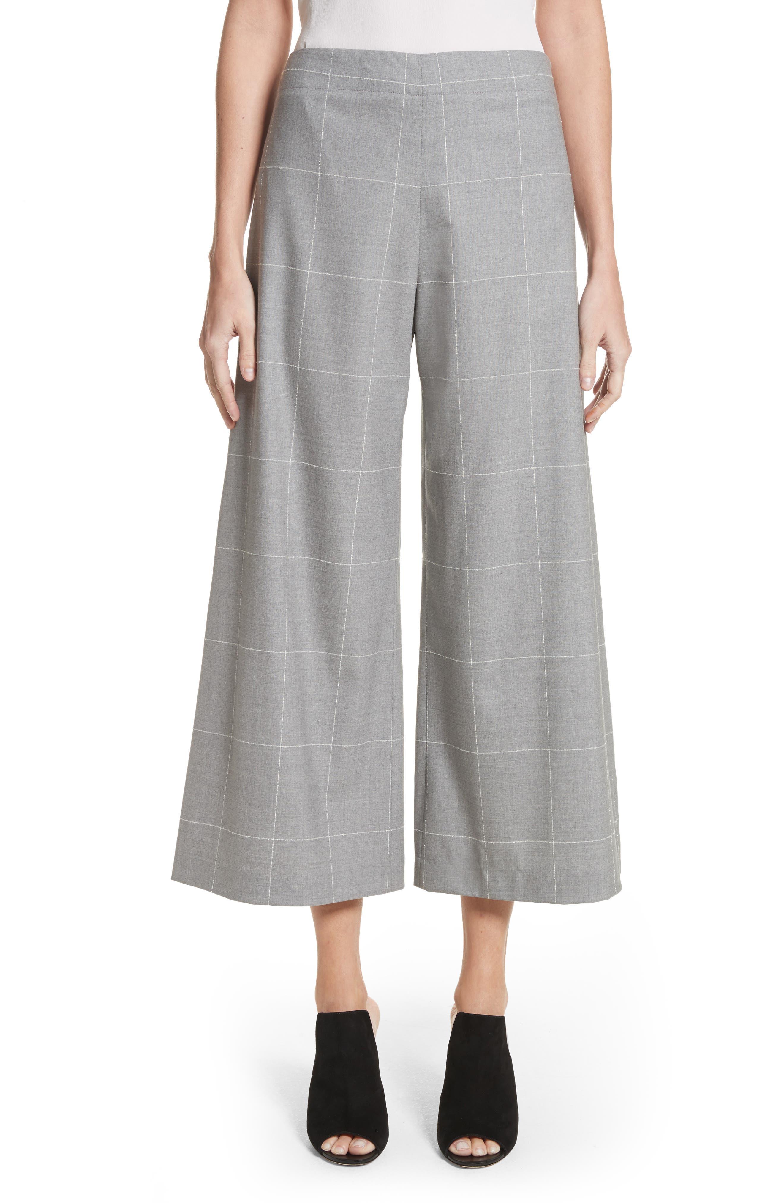 Windowpane Check Wool Wide Leg Crop Pants,                         Main,                         color, Grey/ Ivory