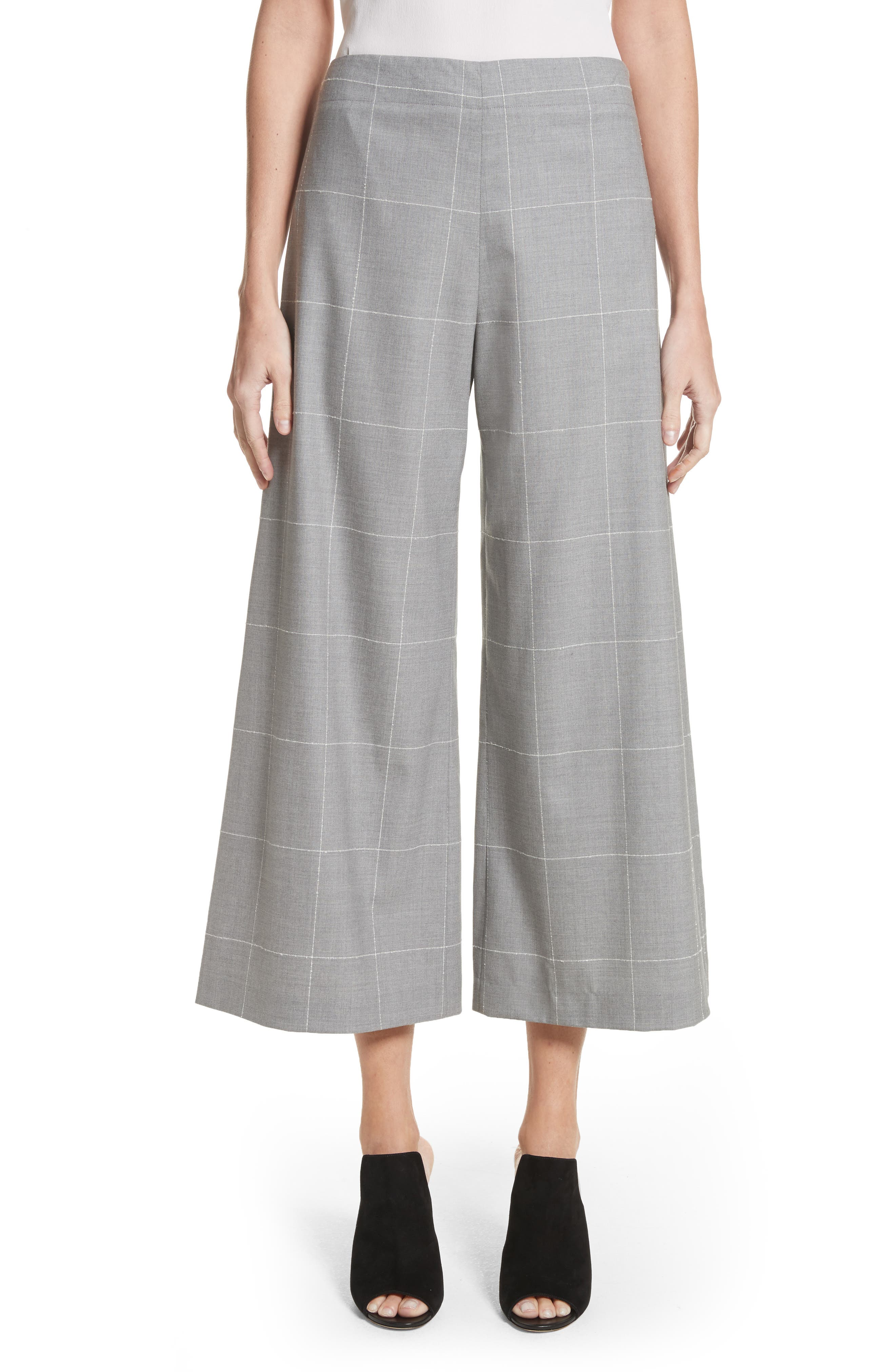Windowpane Check Wool Wide Leg Crop Pants,                         Main,                         color, Grey/ Ivory