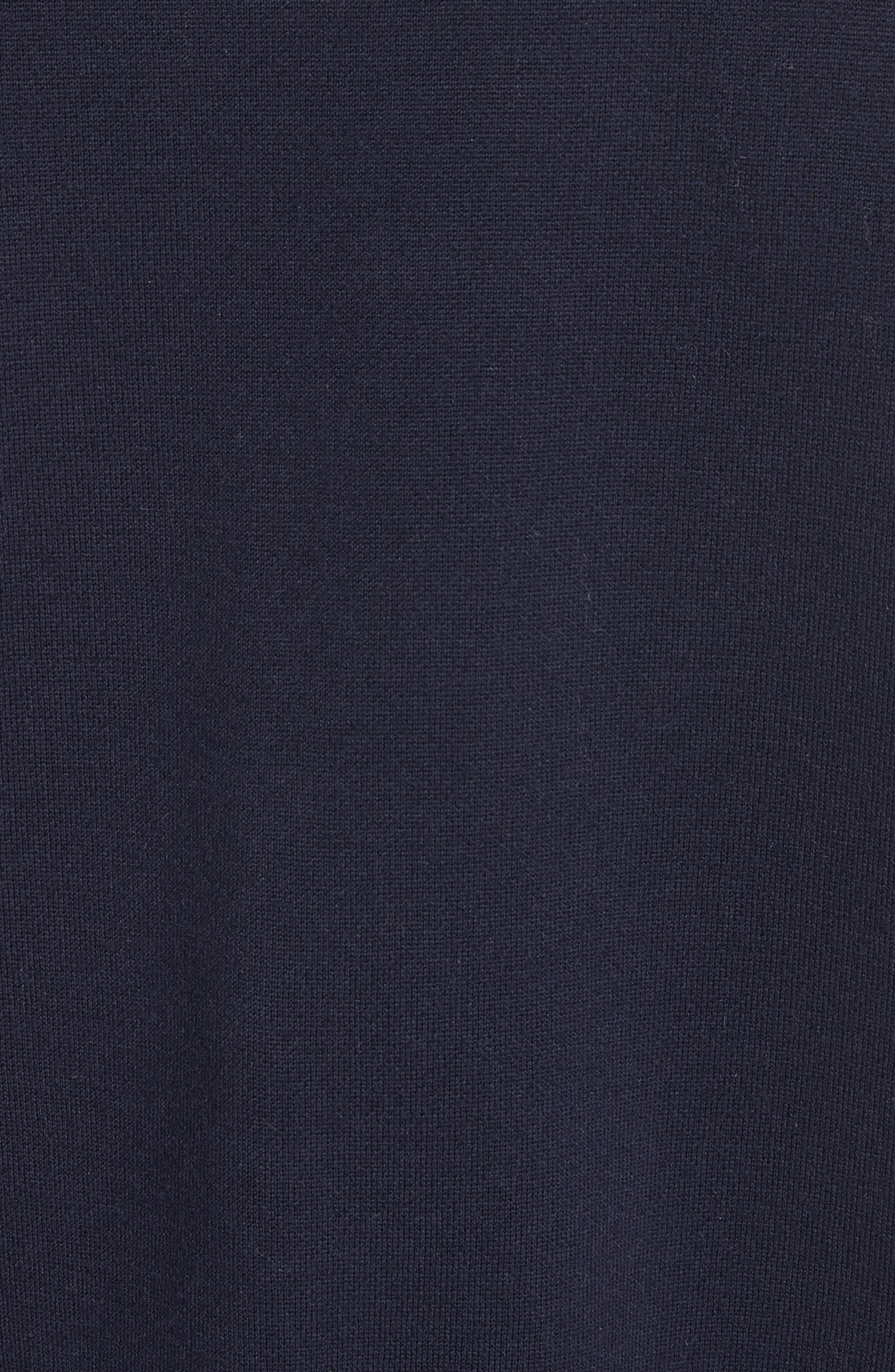 Imitation Pearl Sleeve Merino Wool Sweater,                             Alternate thumbnail 6, color,                             Navy/ Black