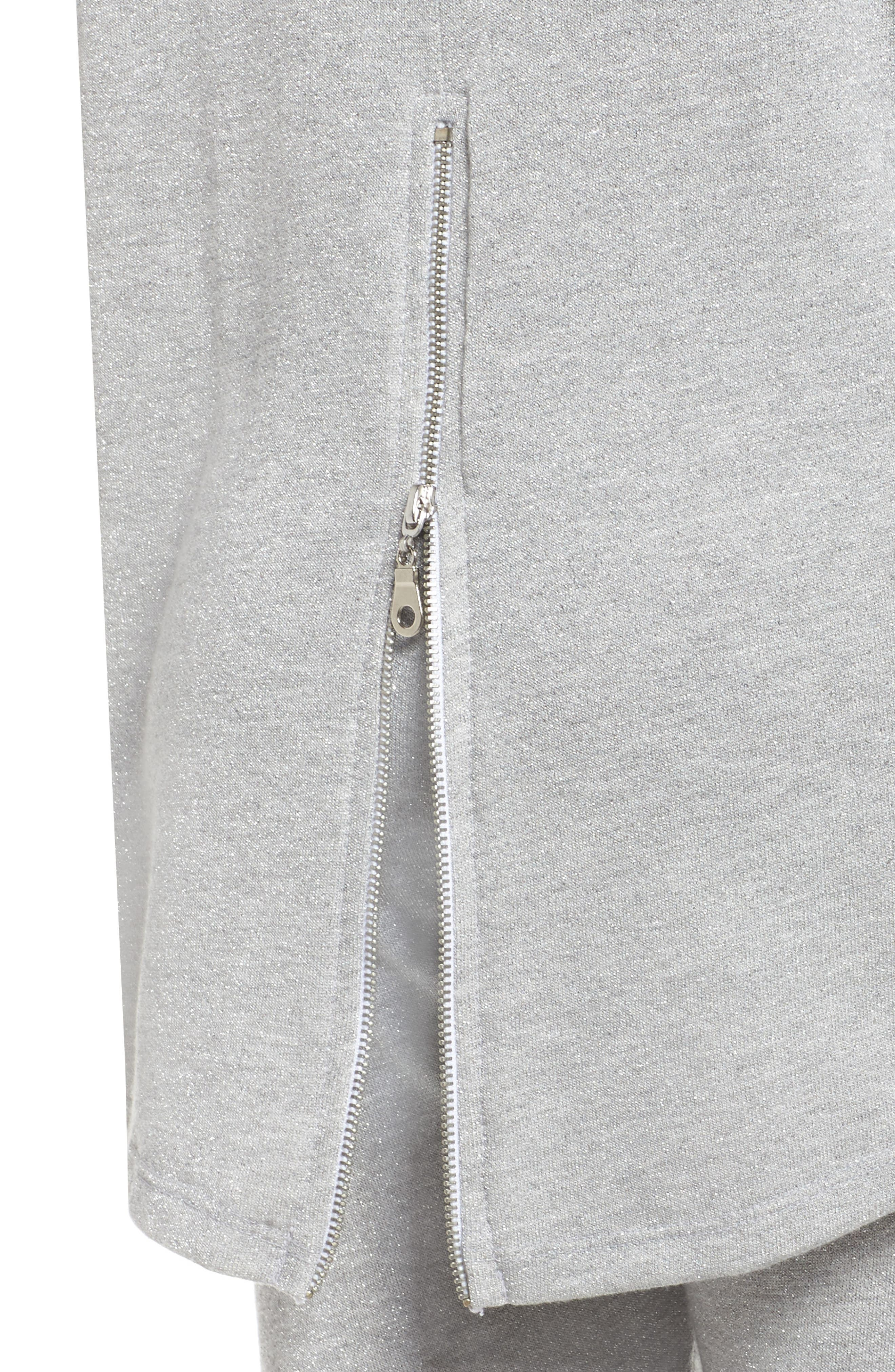 Louie Metallic High/Low Pullover,                             Alternate thumbnail 6, color,                             Heather Grey
