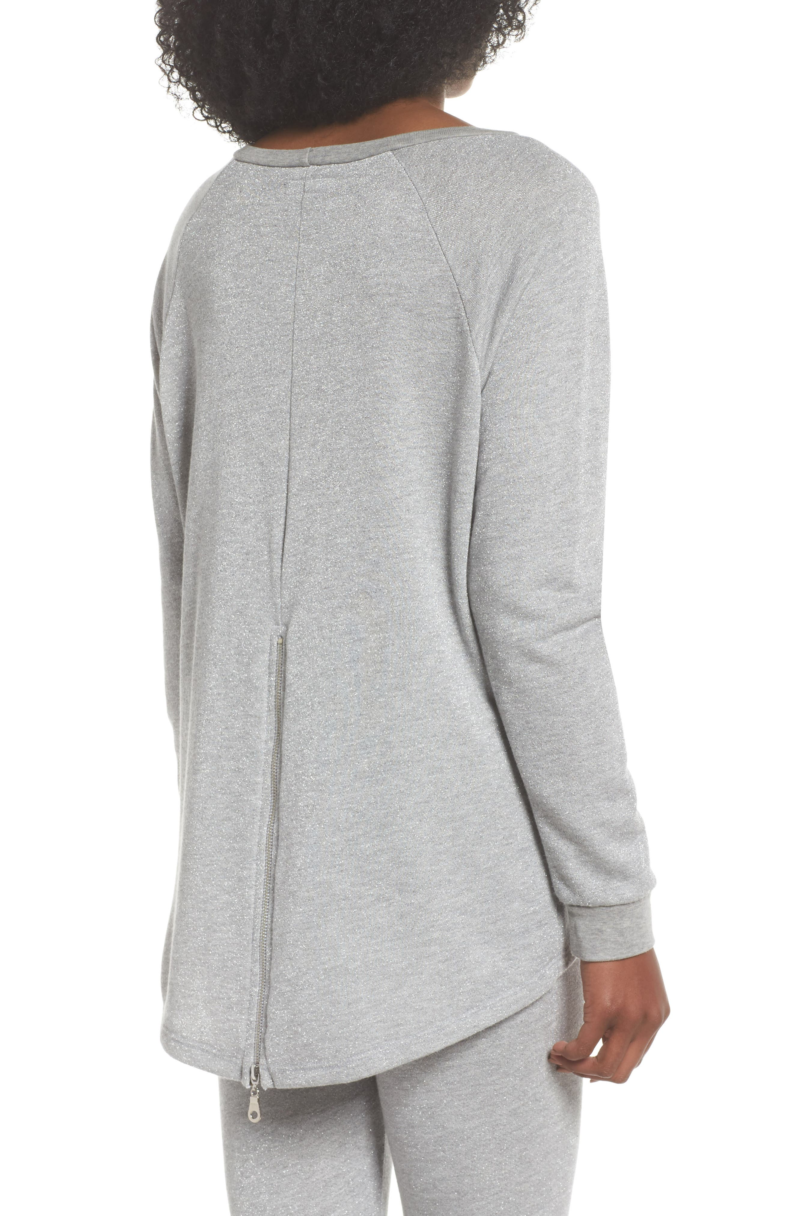 Louie Metallic High/Low Pullover,                             Alternate thumbnail 2, color,                             Heather Grey