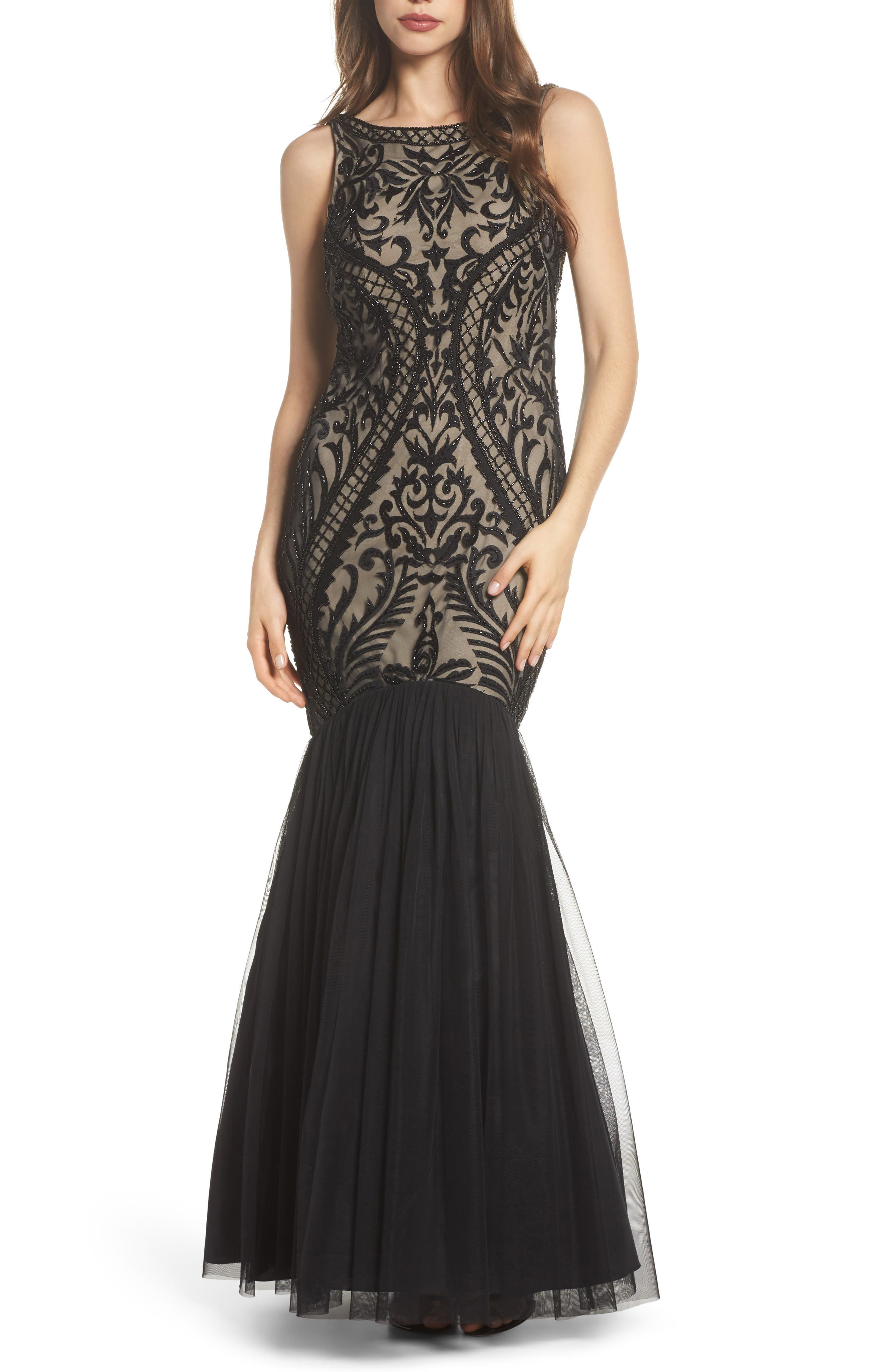 Embellished Mermaid Gown,                         Main,                         color, Black Nude