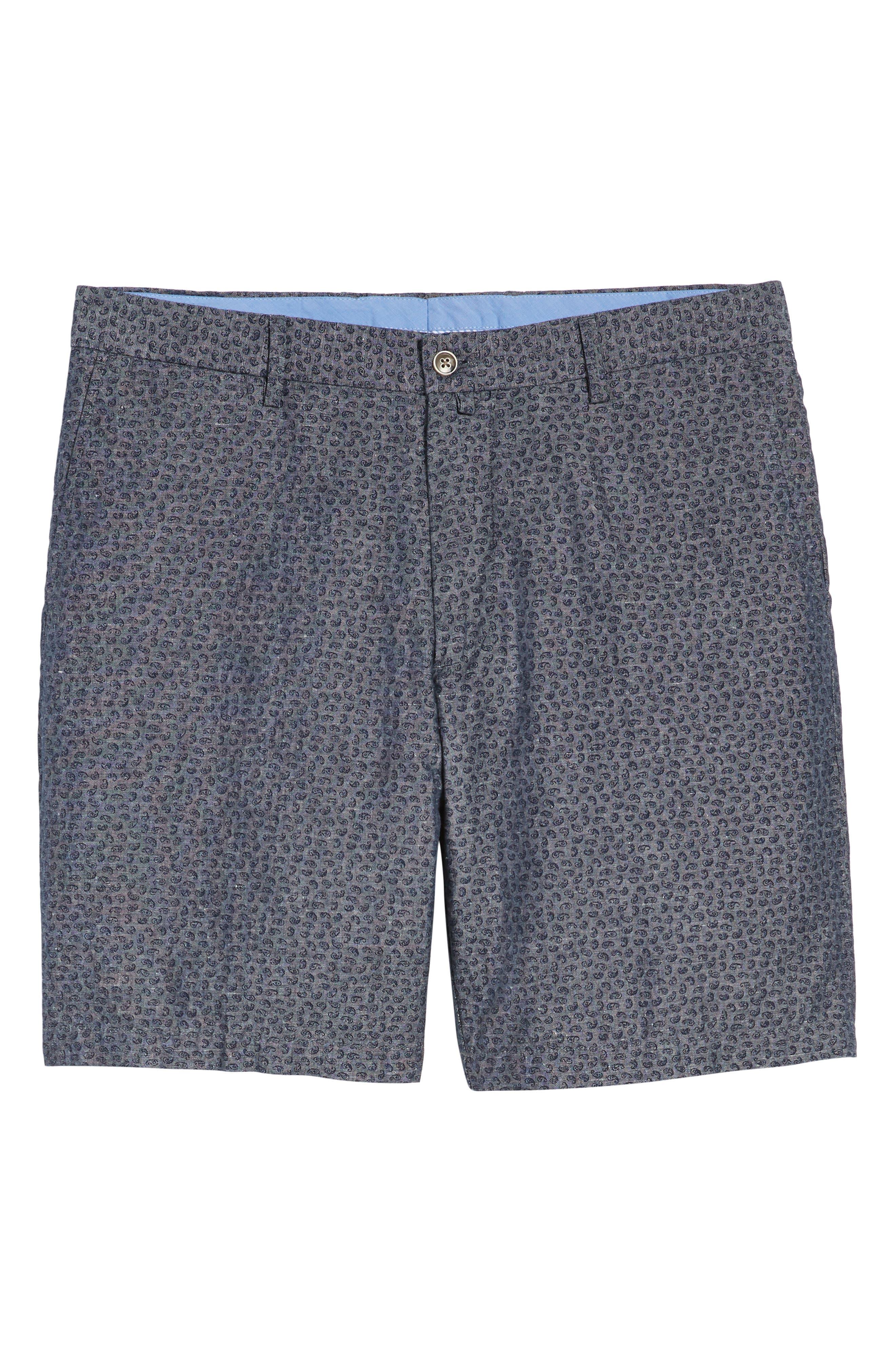 Paisley Chambray Flat Front Shorts,                             Alternate thumbnail 6, color,                             Dark Grey
