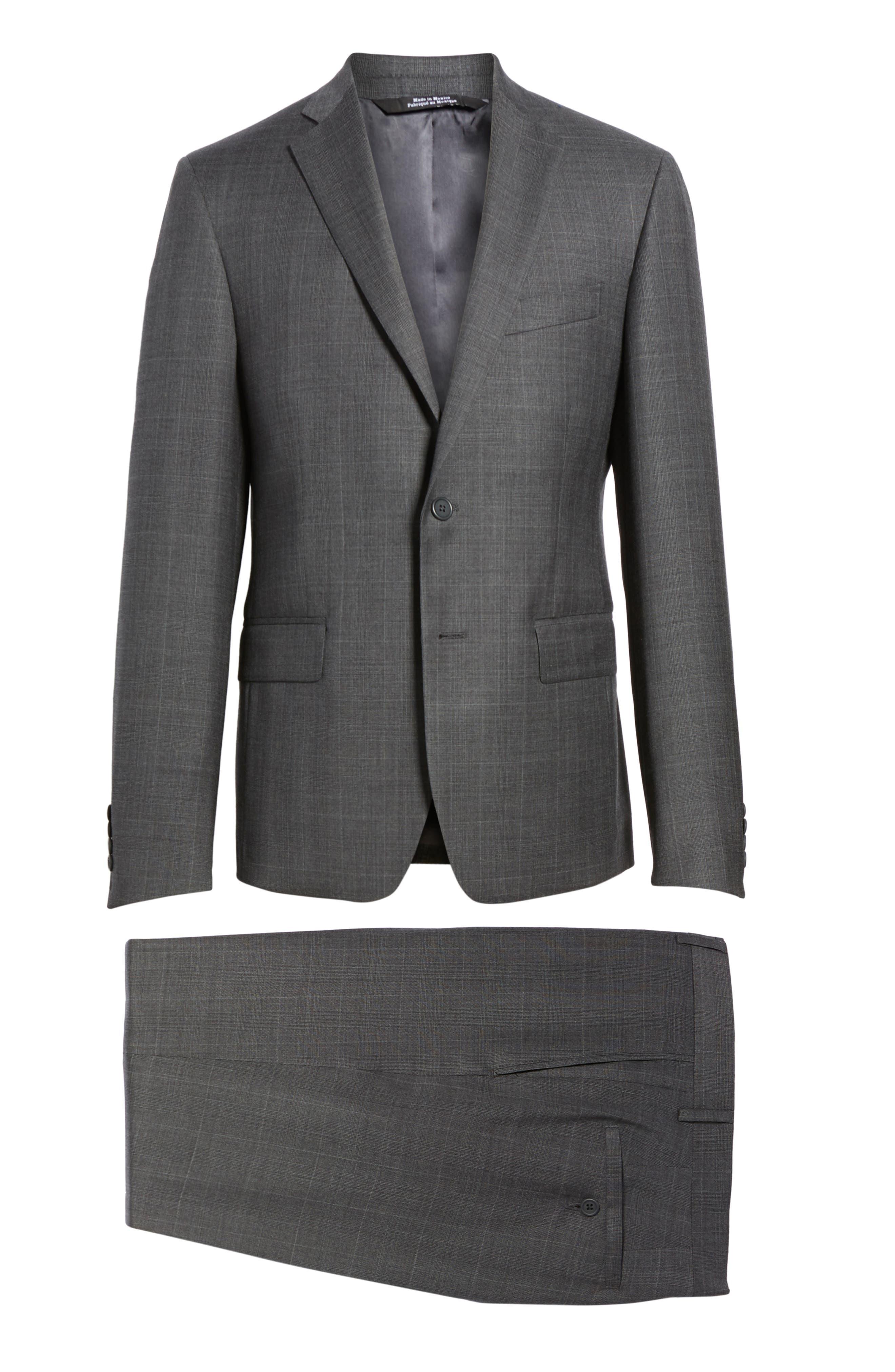 Extra Trim Fit Plaid Wool Suit,                             Alternate thumbnail 8, color,                             Grey