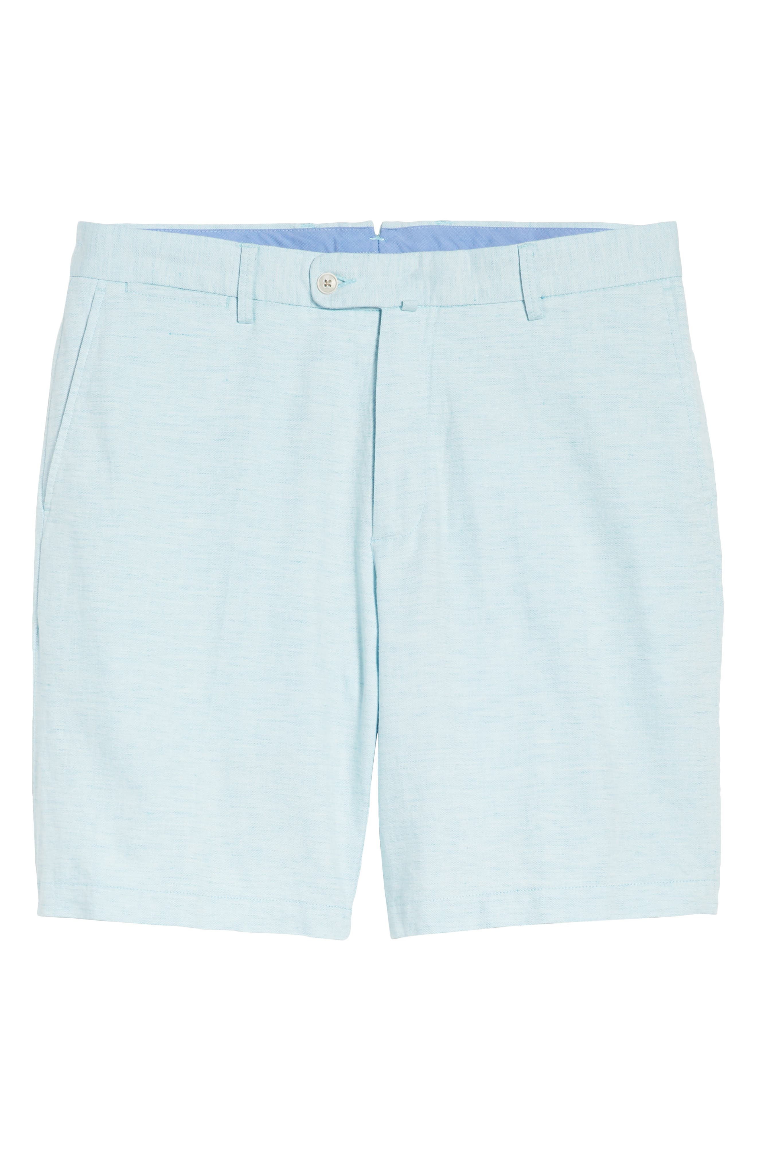 Crown Cool Delave Flat Front Shorts,                             Alternate thumbnail 6, color,                             Grotto Blue