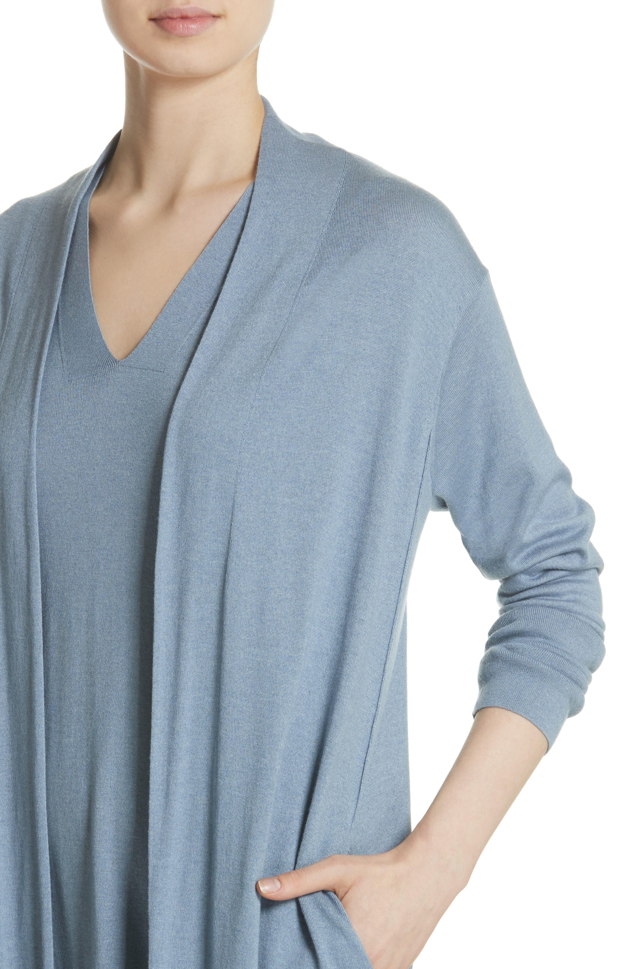 Cashmere & Silk Duster,                             Alternate thumbnail 4, color,                             Slate Blue
