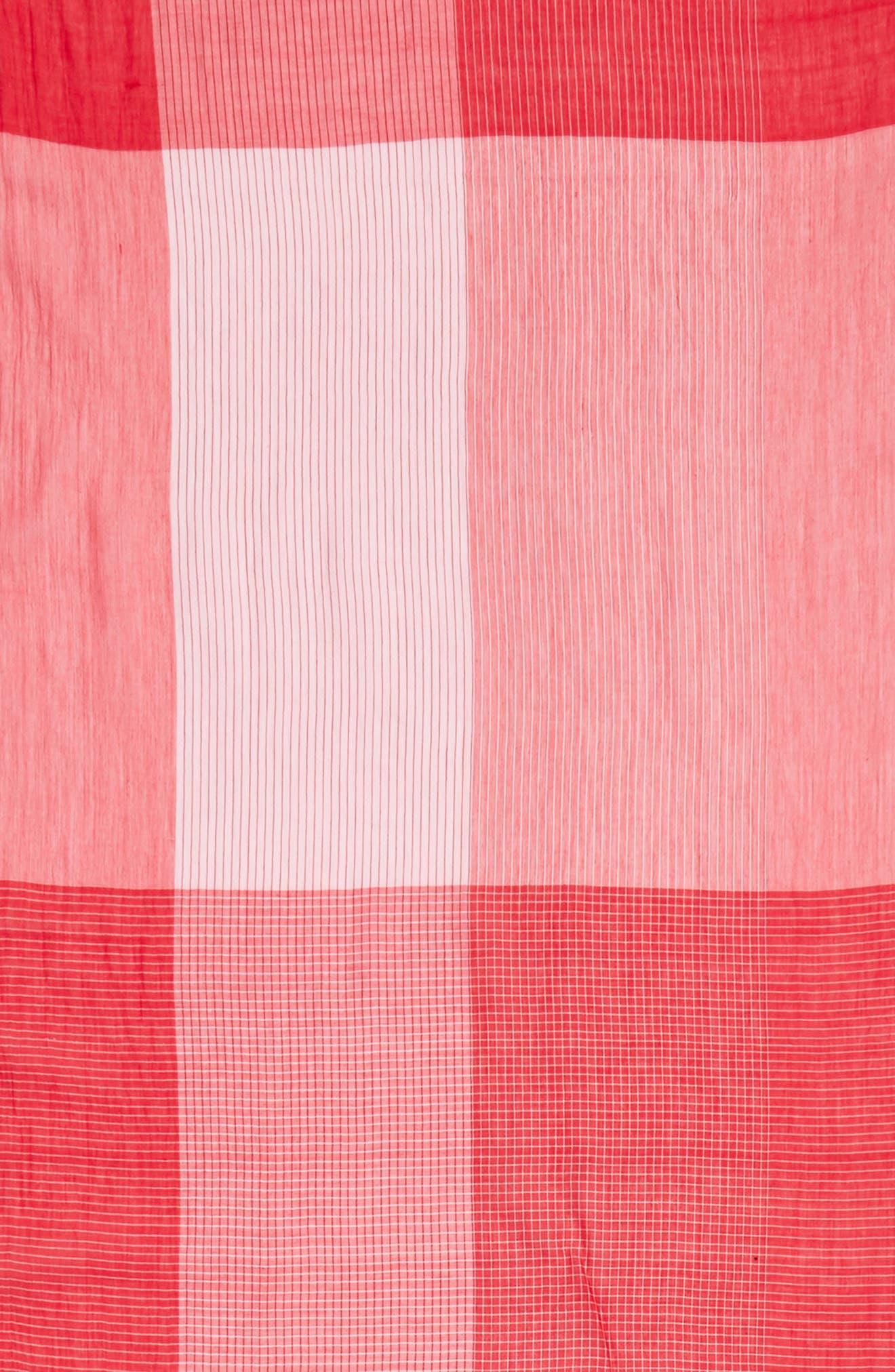 Colorblock Organic Cotton Scarf,                             Alternate thumbnail 4, color,                             Strawberry