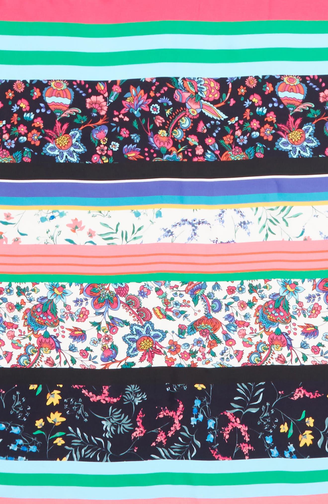 Eccentric Stripe Square Silk Scarf,                             Alternate thumbnail 4, color,                             Black