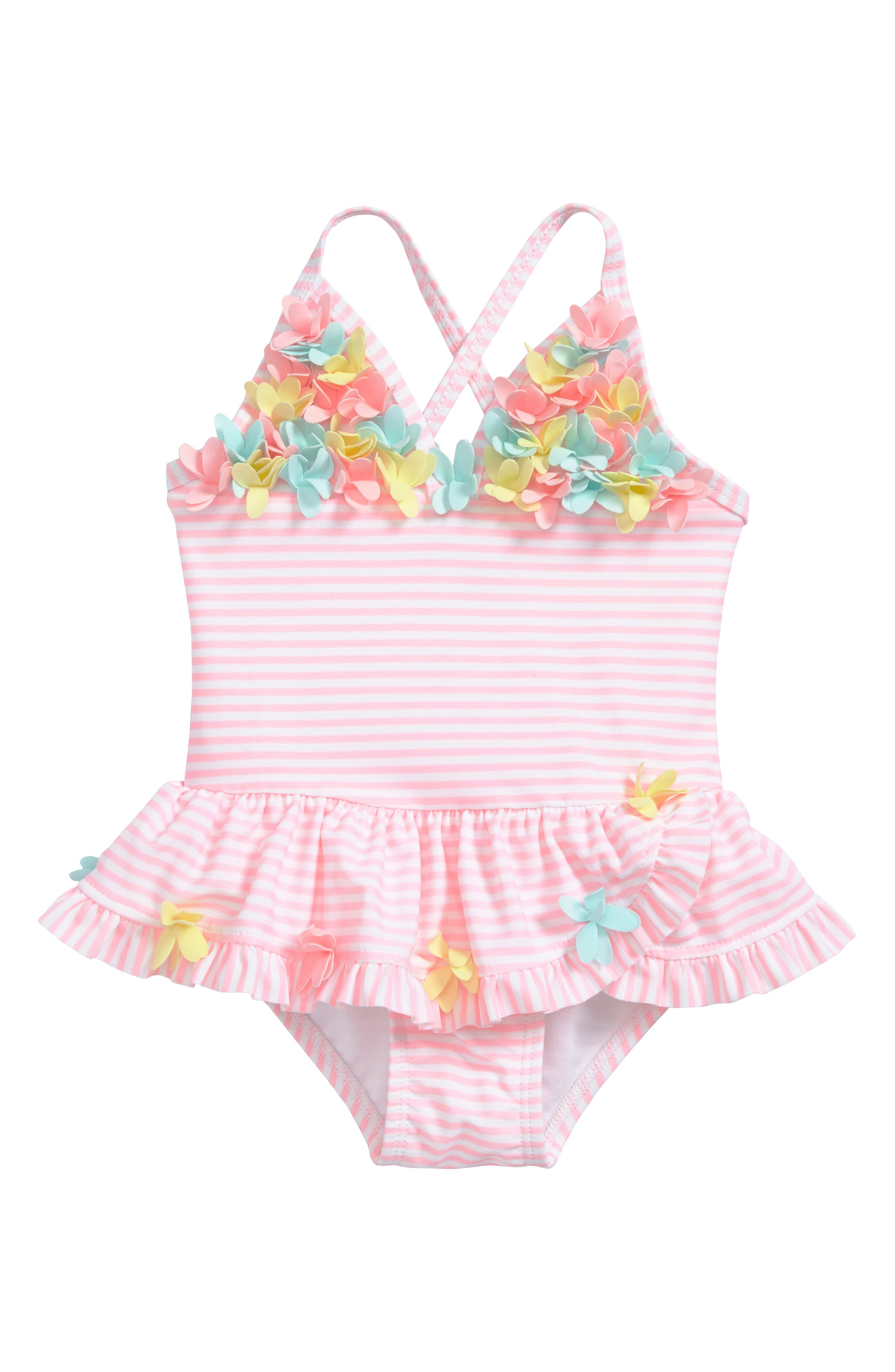 Main Image - Little Me Flower Appliqué Skirted One-Piece Swimsuit (Baby Girls)