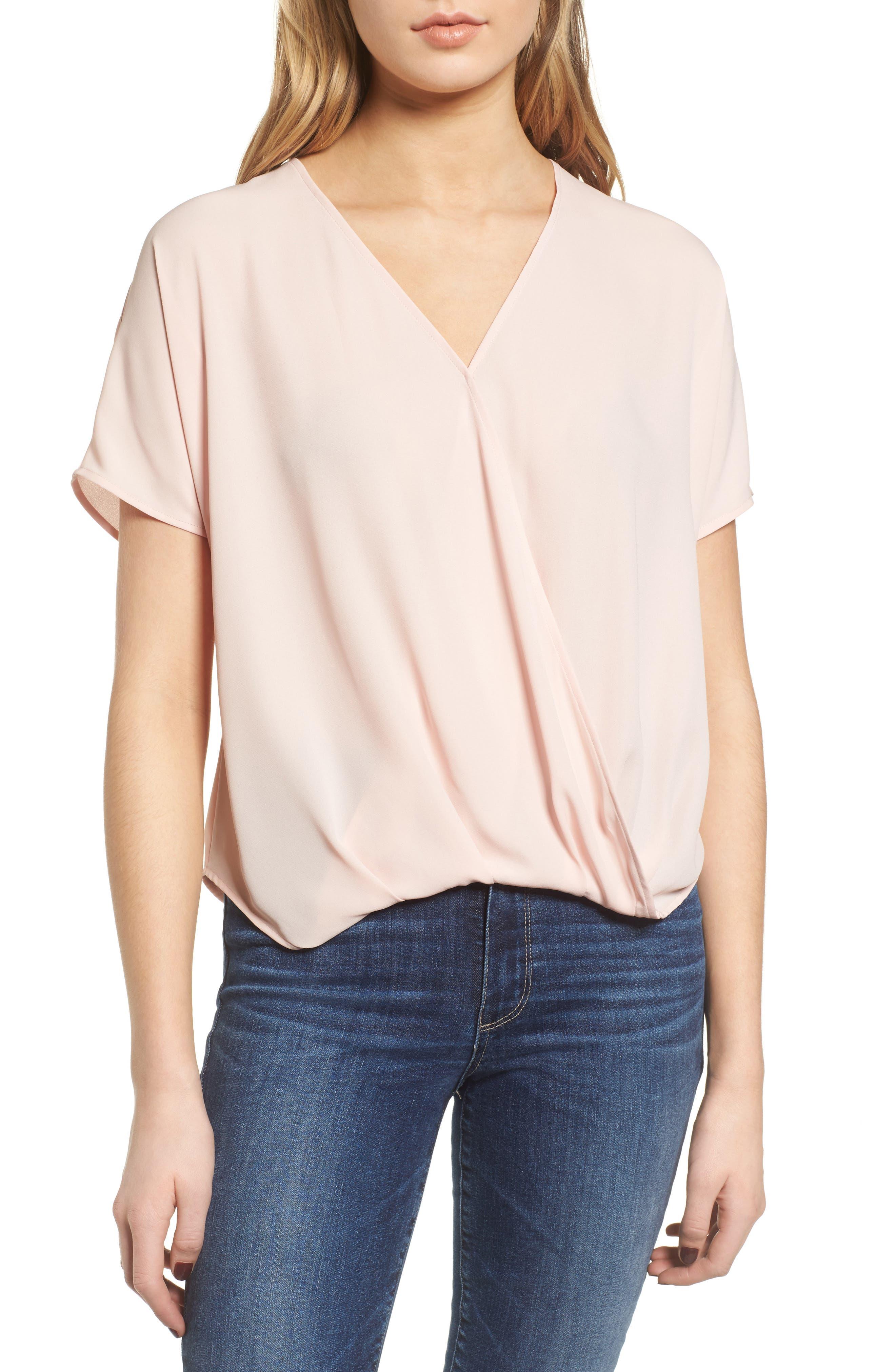 Surplice Top,                         Main,                         color, Pink Peach
