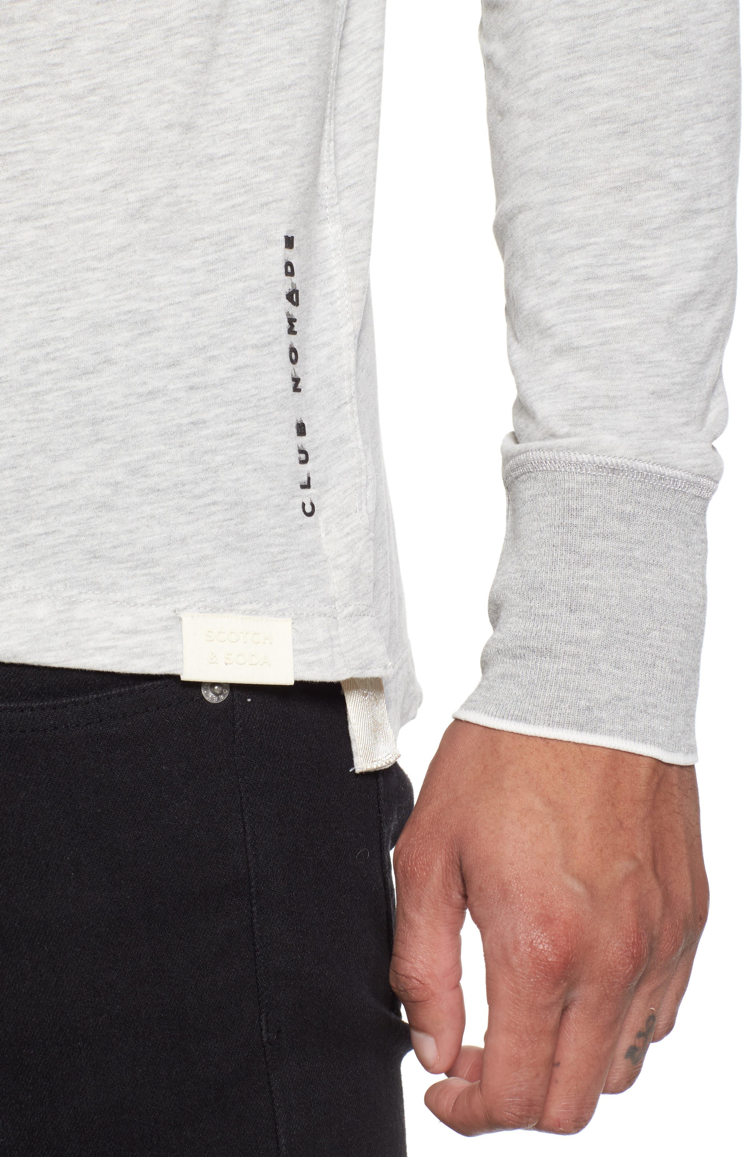 Club Nomade Soft Granddad T-Shirt,                             Alternate thumbnail 4, color,                             Grey Melange