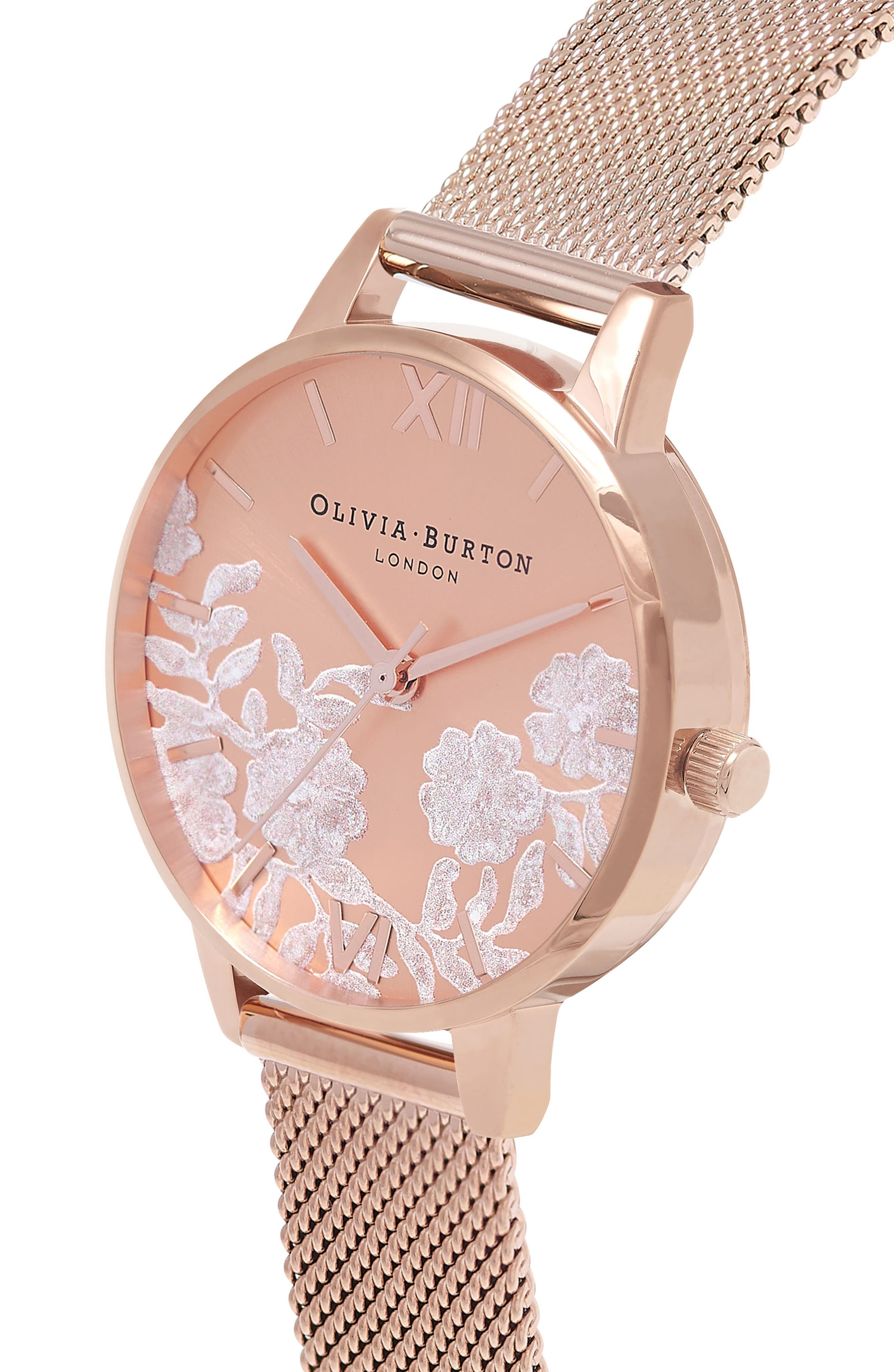 Lace Detail Mesh Strap Watch, 30mm,                             Alternate thumbnail 3, color,                             Rose Gold