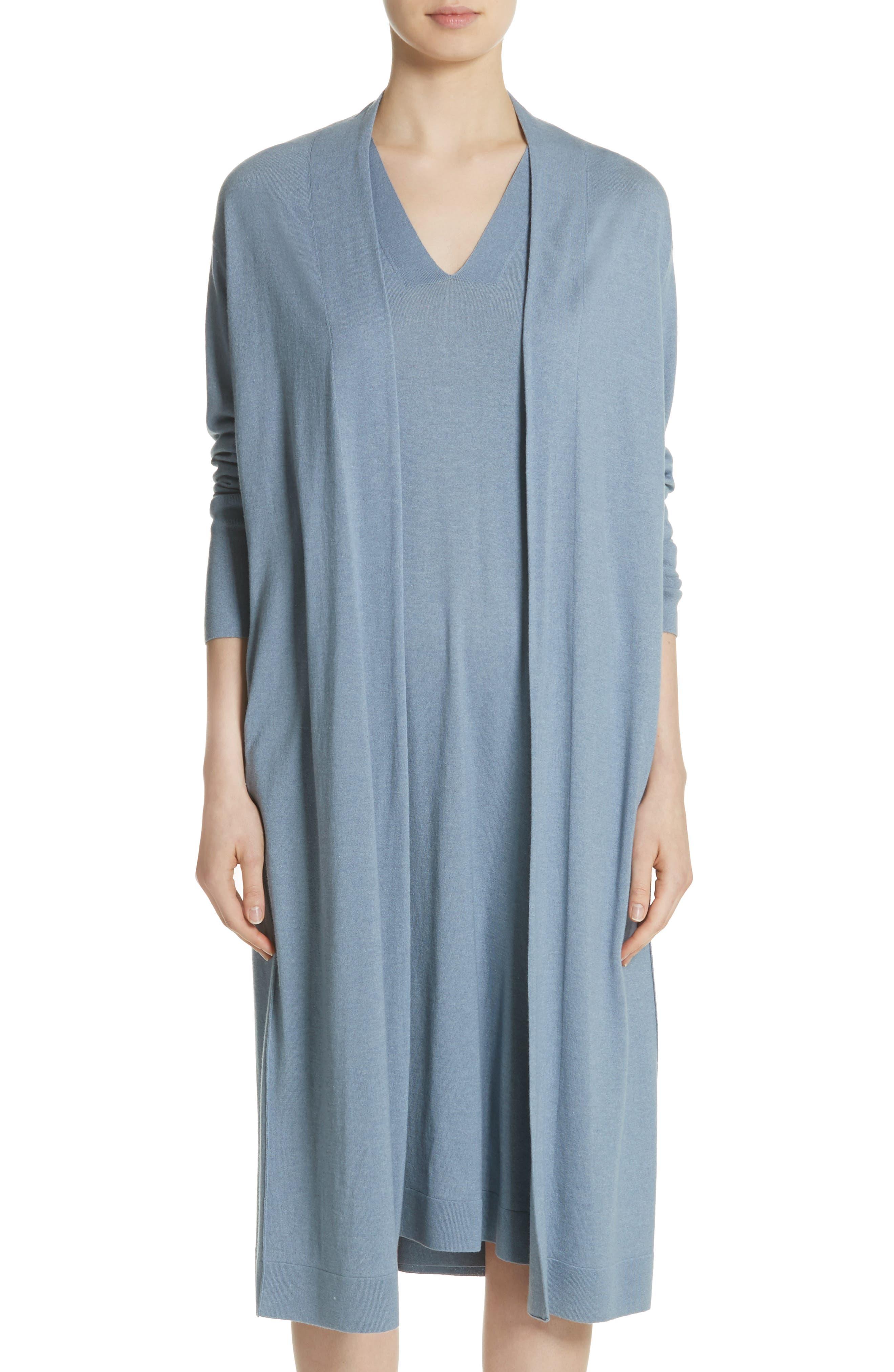 Cashmere & Silk Duster,                         Main,                         color, Slate Blue