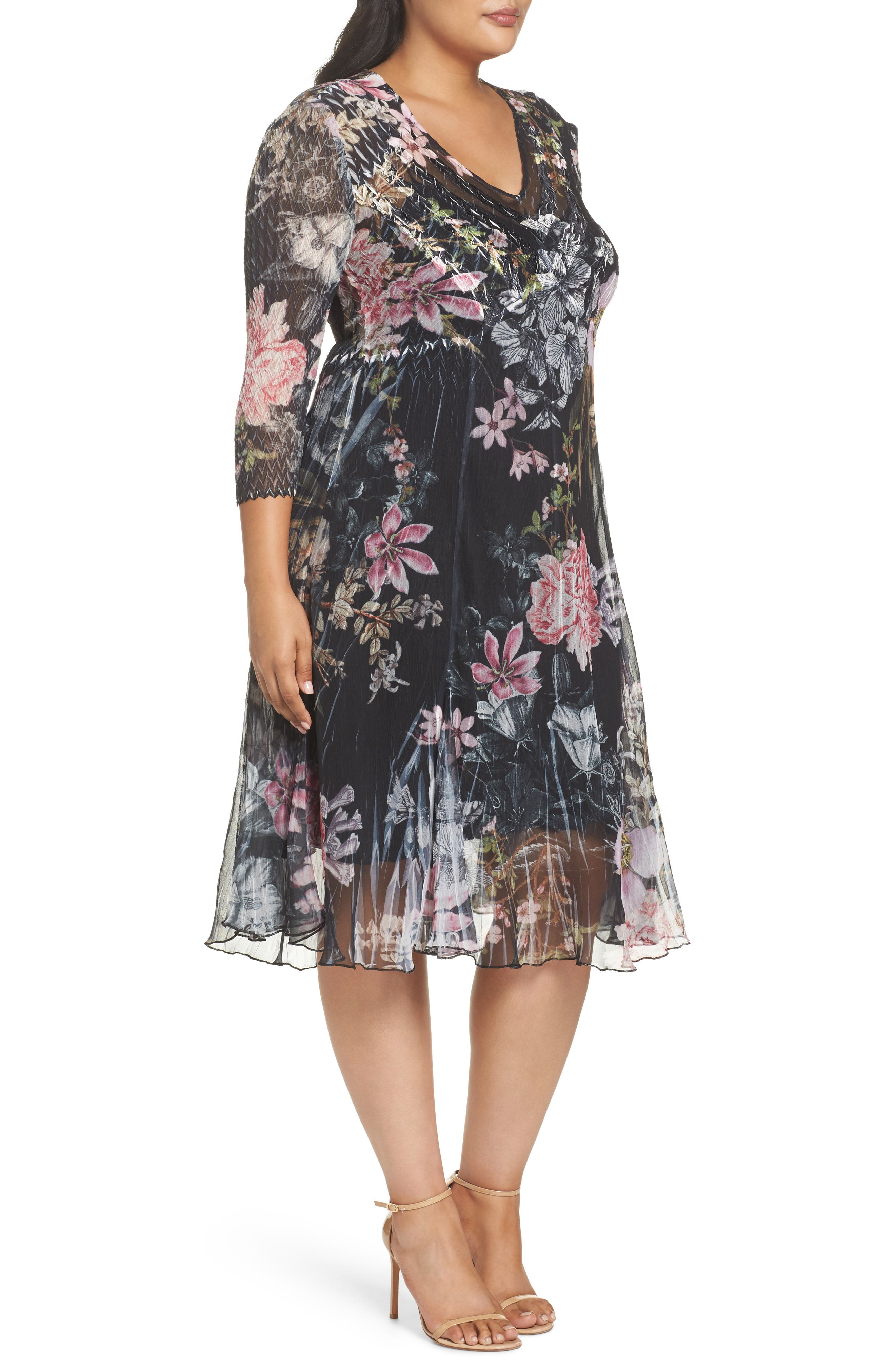 Kamarov Floral Charmeuse & Chiffon Floral A-Line Dress,                             Alternate thumbnail 3, color,                             Moon Flower