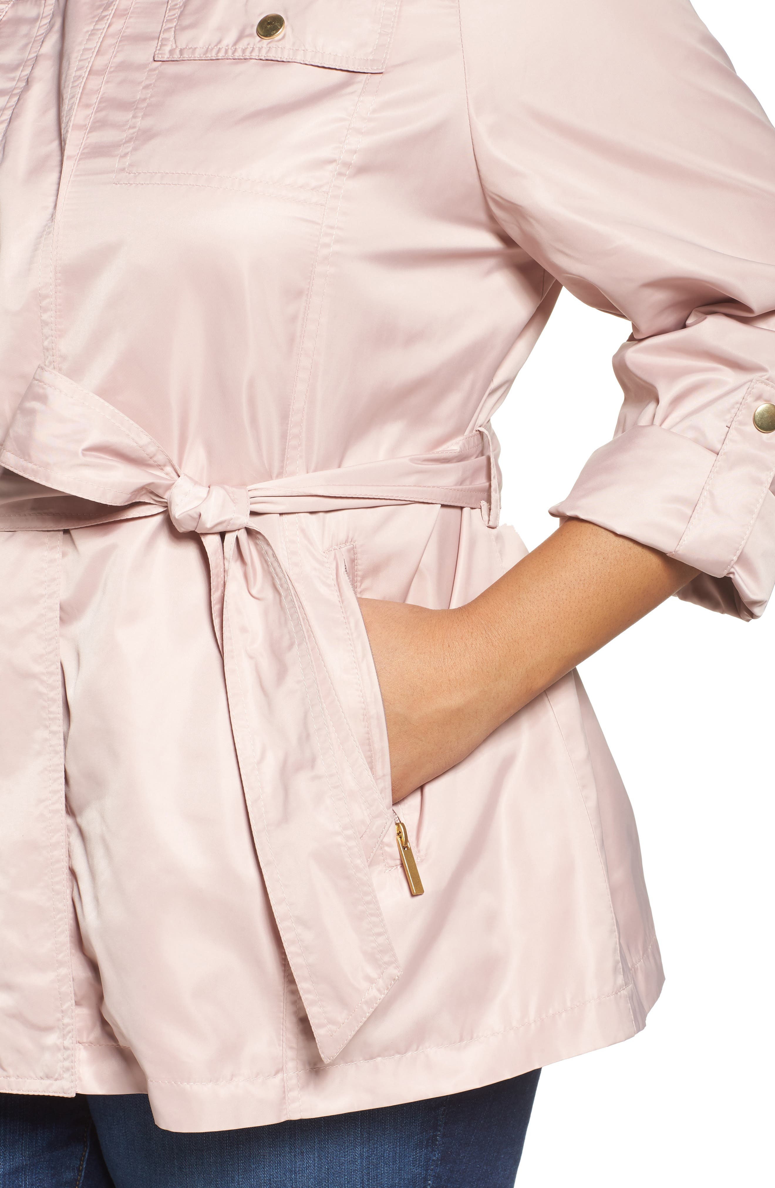 Belted Lightweight Jacket,                             Alternate thumbnail 4, color,                             Blush