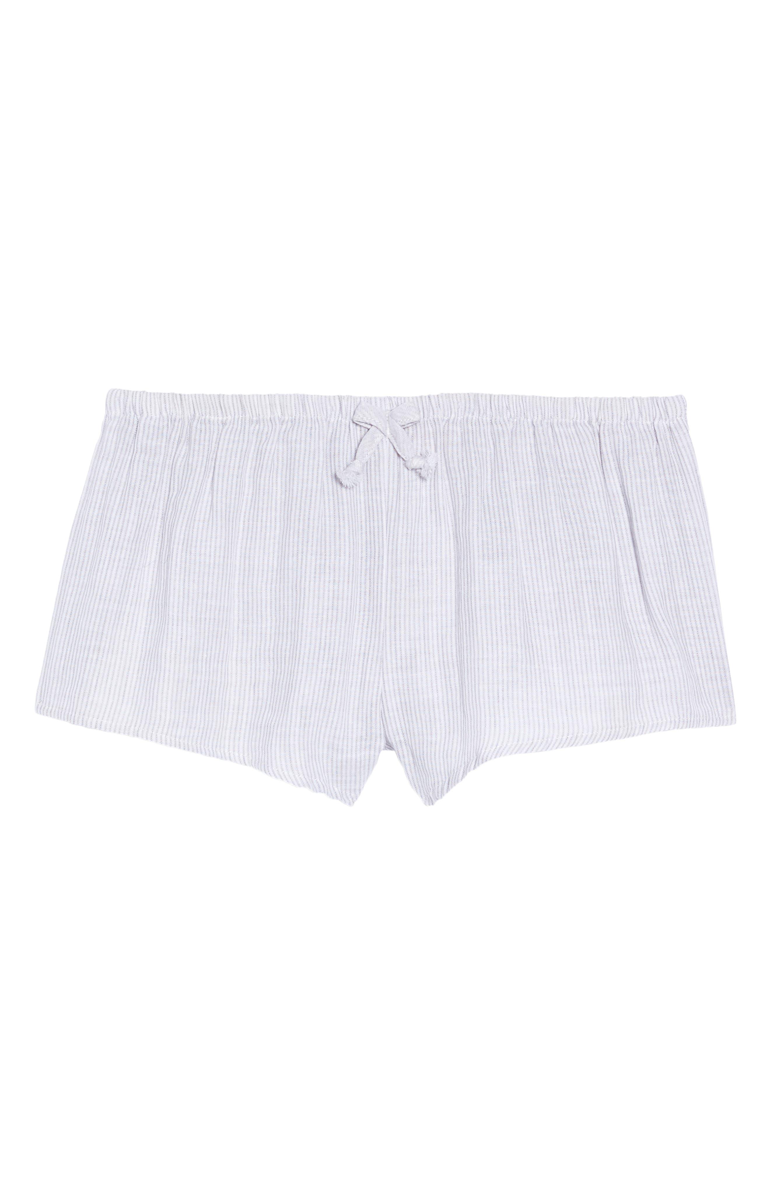 Stripe Pajama Shorts,                             Alternate thumbnail 4, color,                             Grey/ White