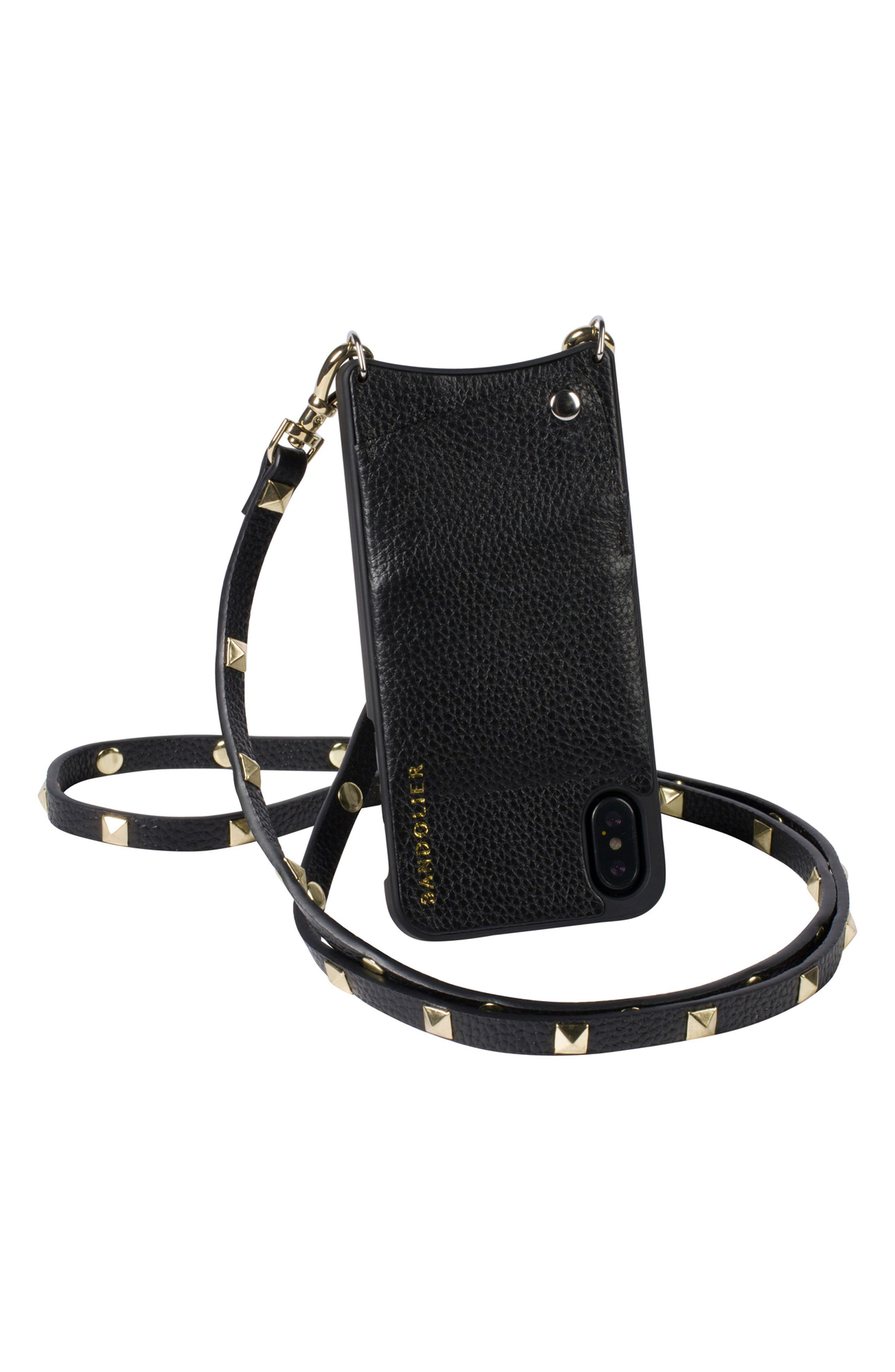 Sarah iPhone X Crossbody Case,                             Alternate thumbnail 4, color,                             New Black/ Gold