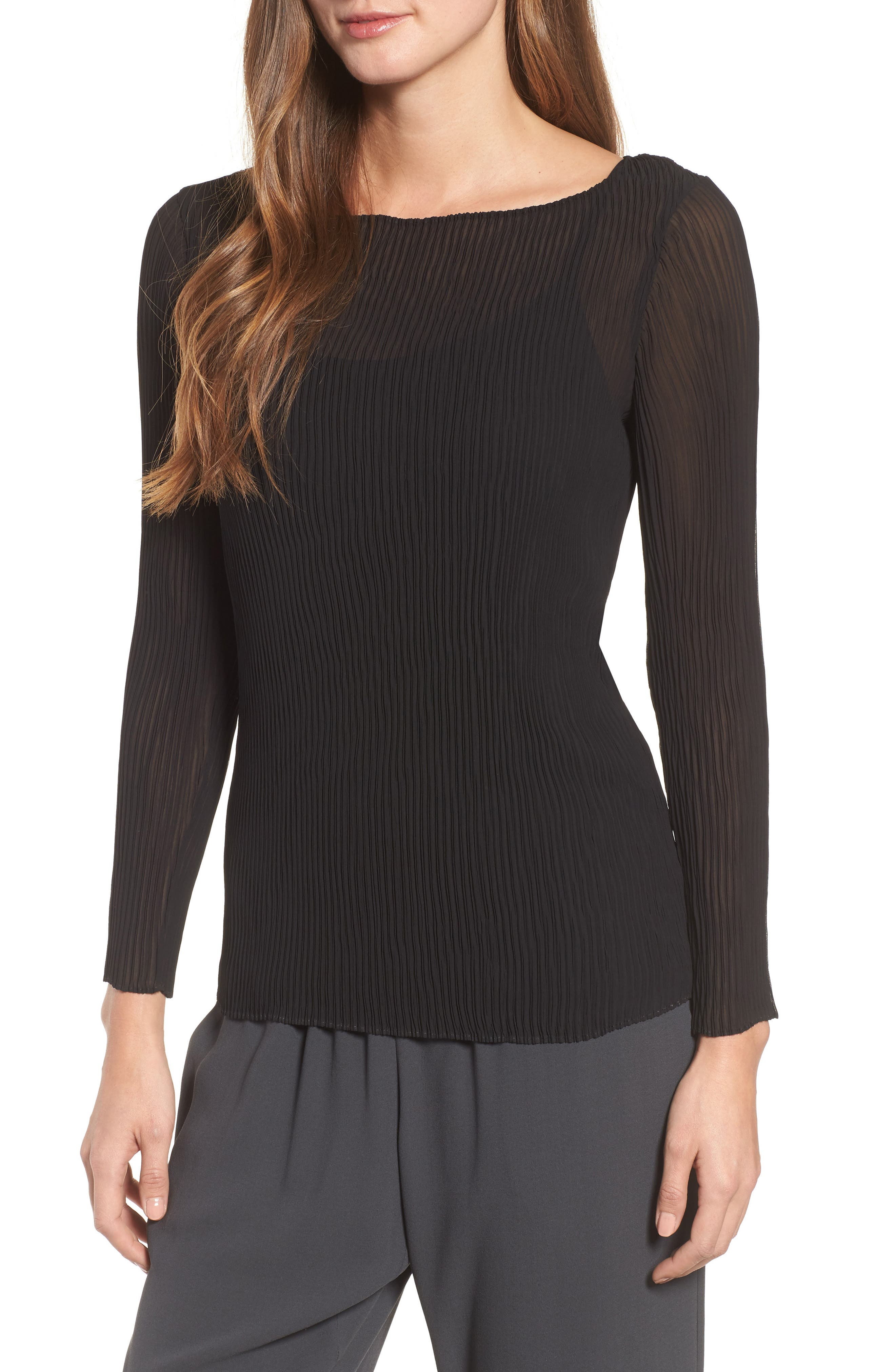 Ribbed Top,                         Main,                         color, Black