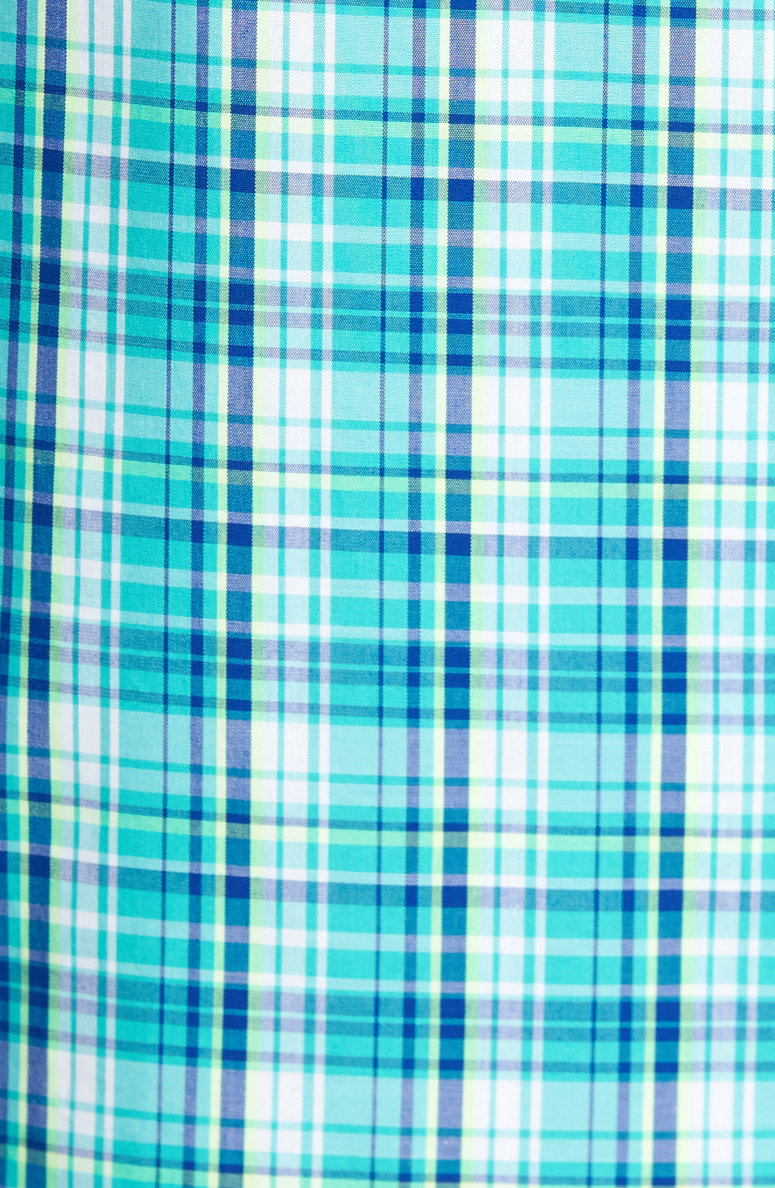 Tobias Non-Iron Plaid Woven Shirt,                             Alternate thumbnail 5, color,                             Newport