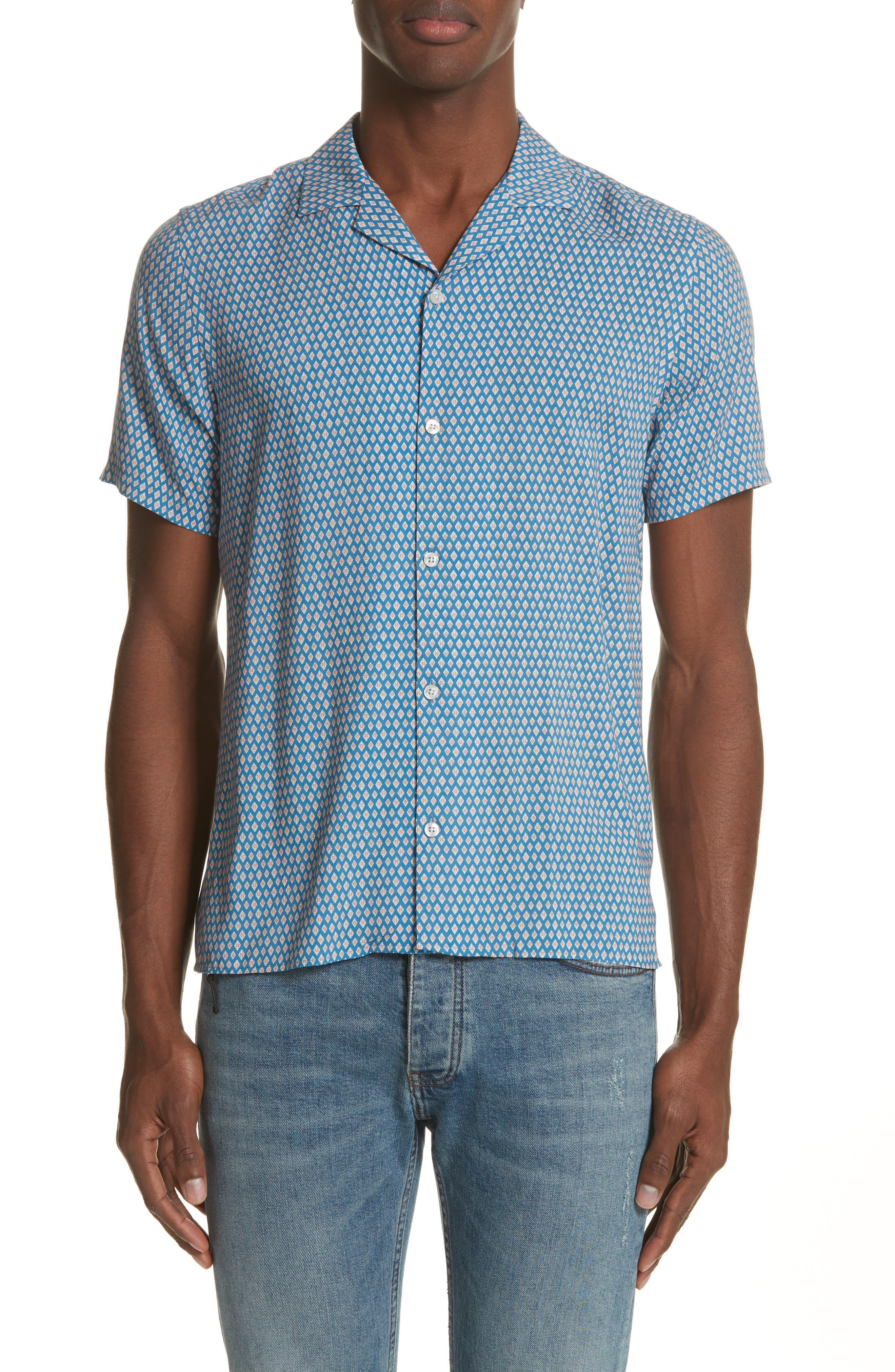 Diamond Print Camp Shirt,                         Main,                         color, Blu 36