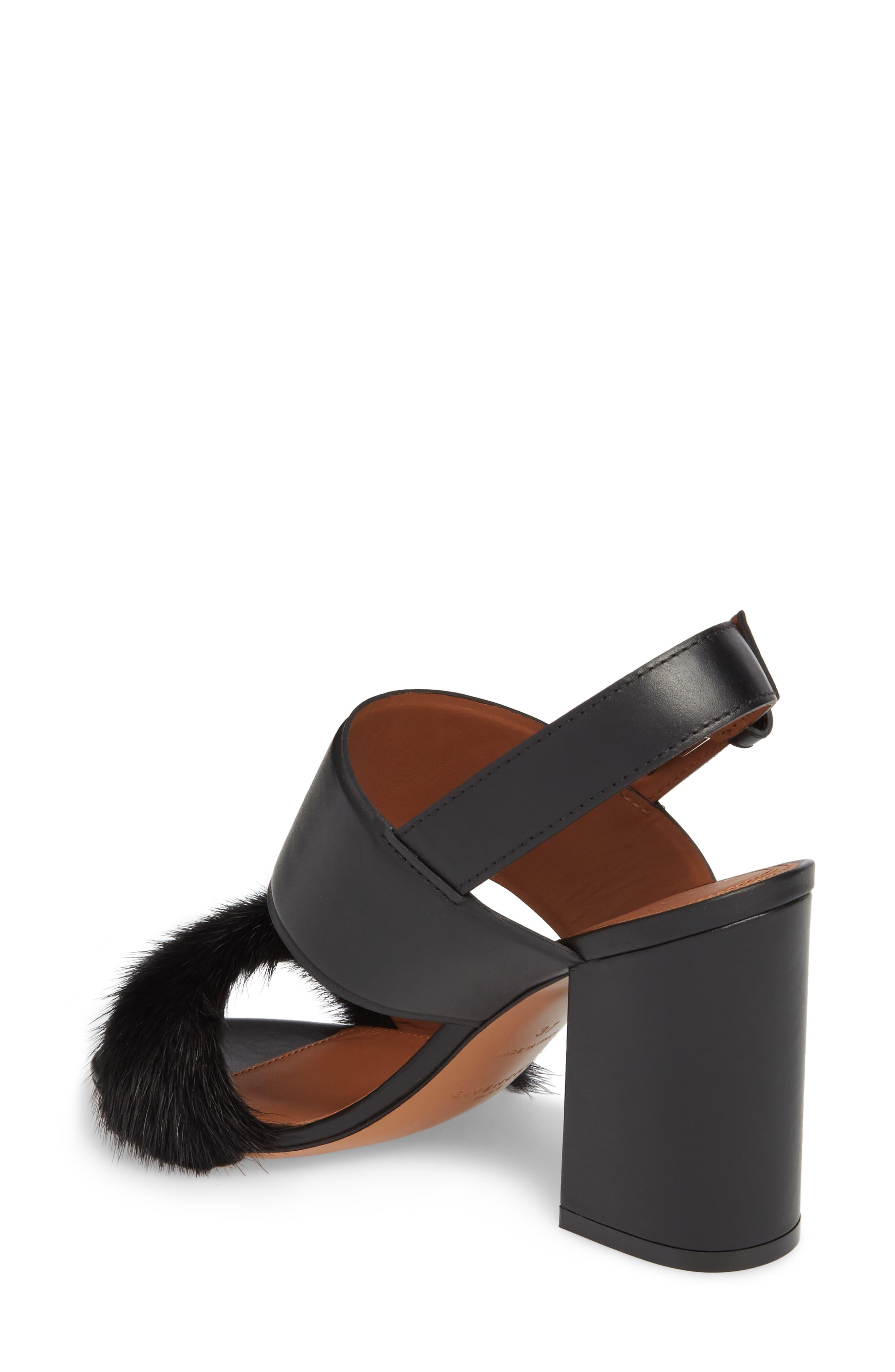 Genuine Mink Flared Heel Sandal,                             Alternate thumbnail 2, color,                             Black