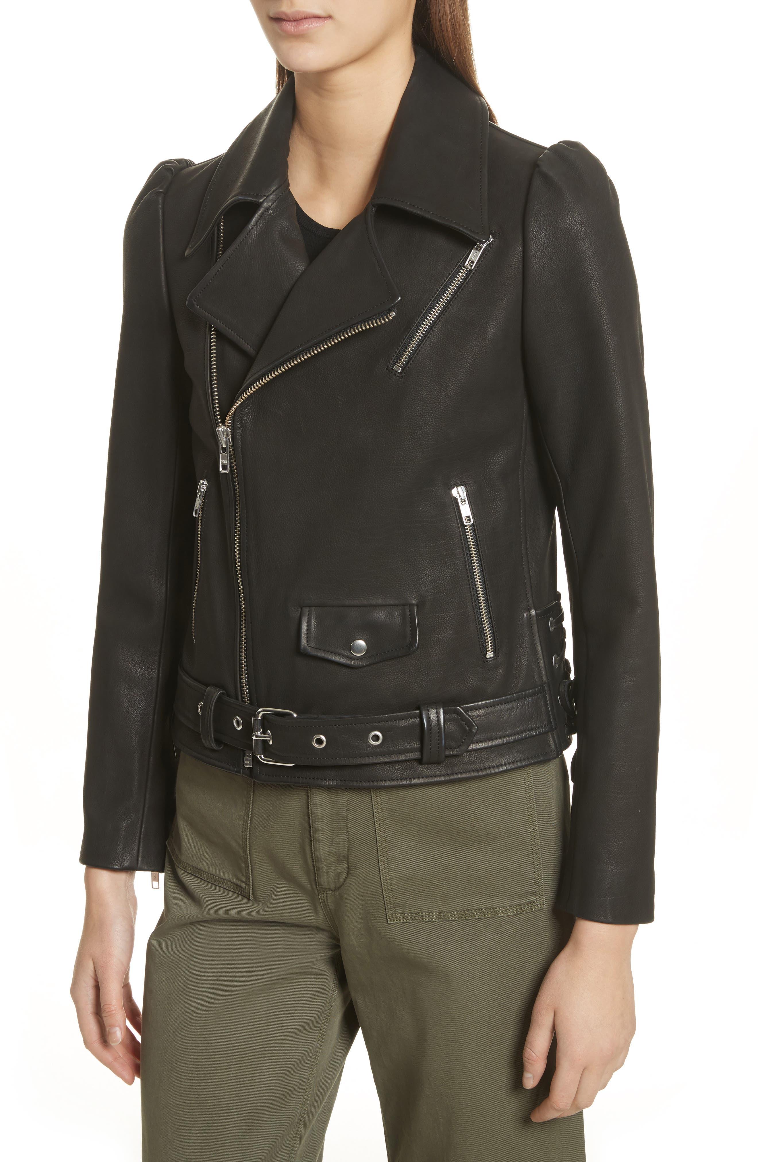 Calix Puff Shoulder Leather Moto Jacket,                             Alternate thumbnail 4, color,                             Black